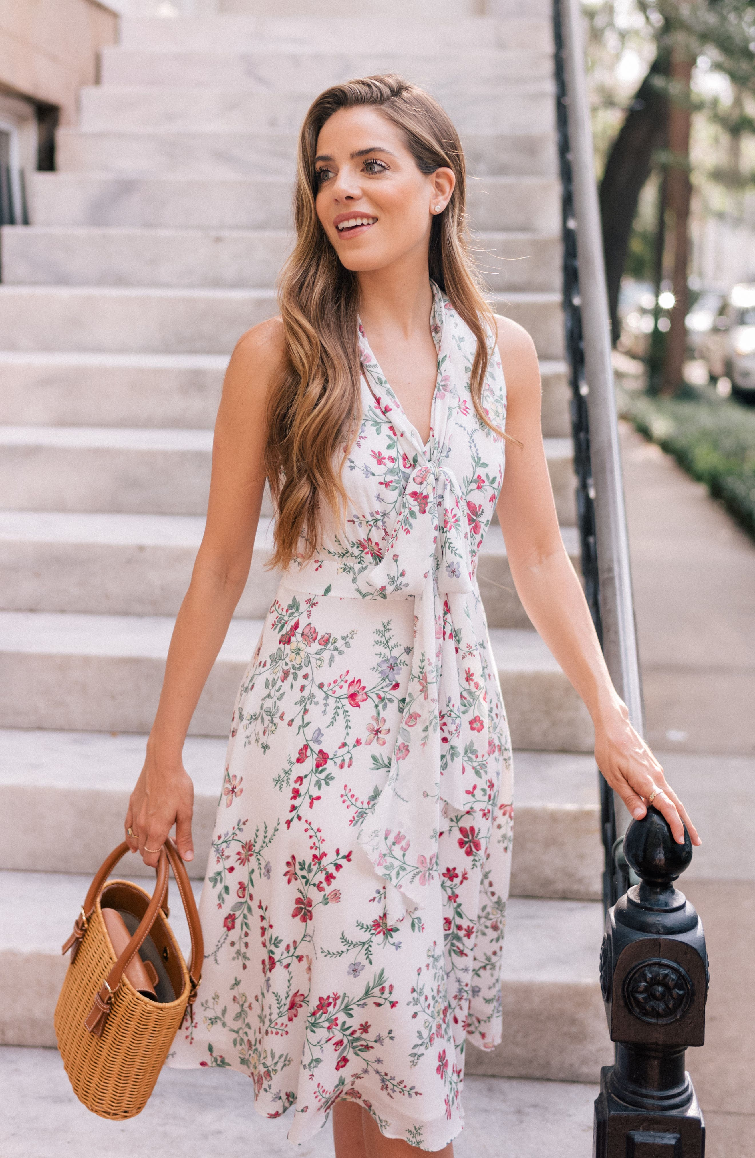 Alexis Delicate Blossom Print Tie Neck Dress,                             Alternate thumbnail 2, color,                             Pearl Rose