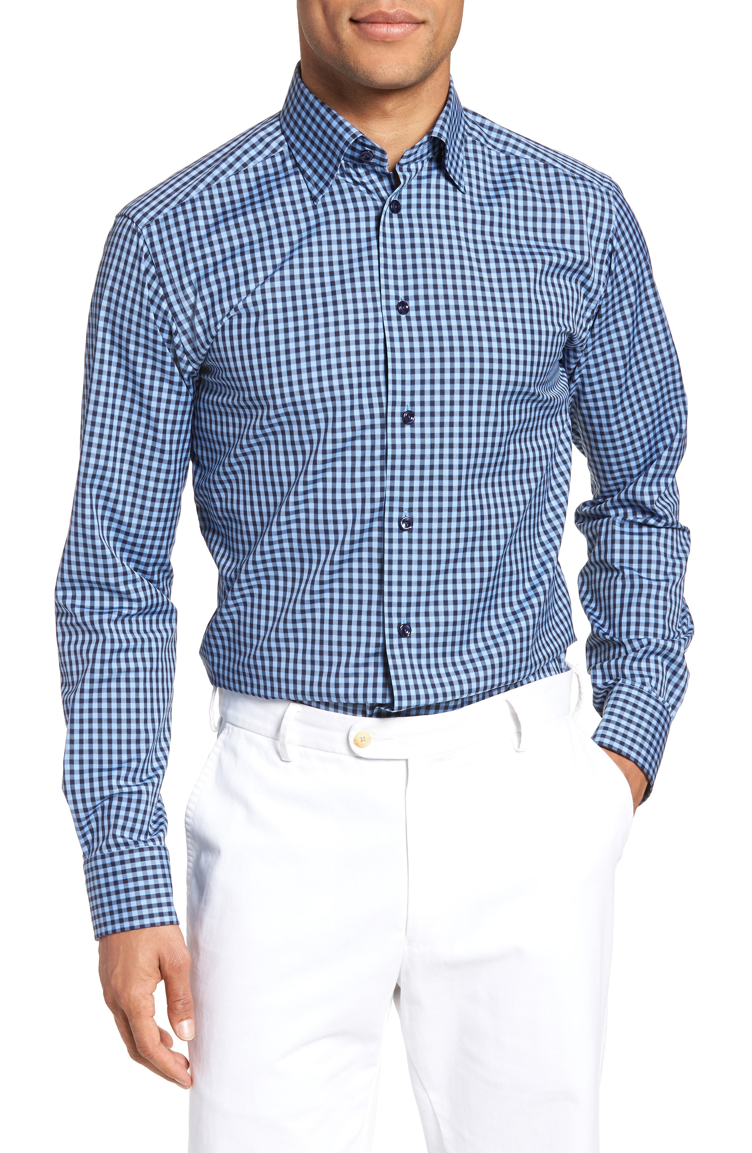 Slim Fit Check Dress Shirt,                             Main thumbnail 1, color,                             Blue