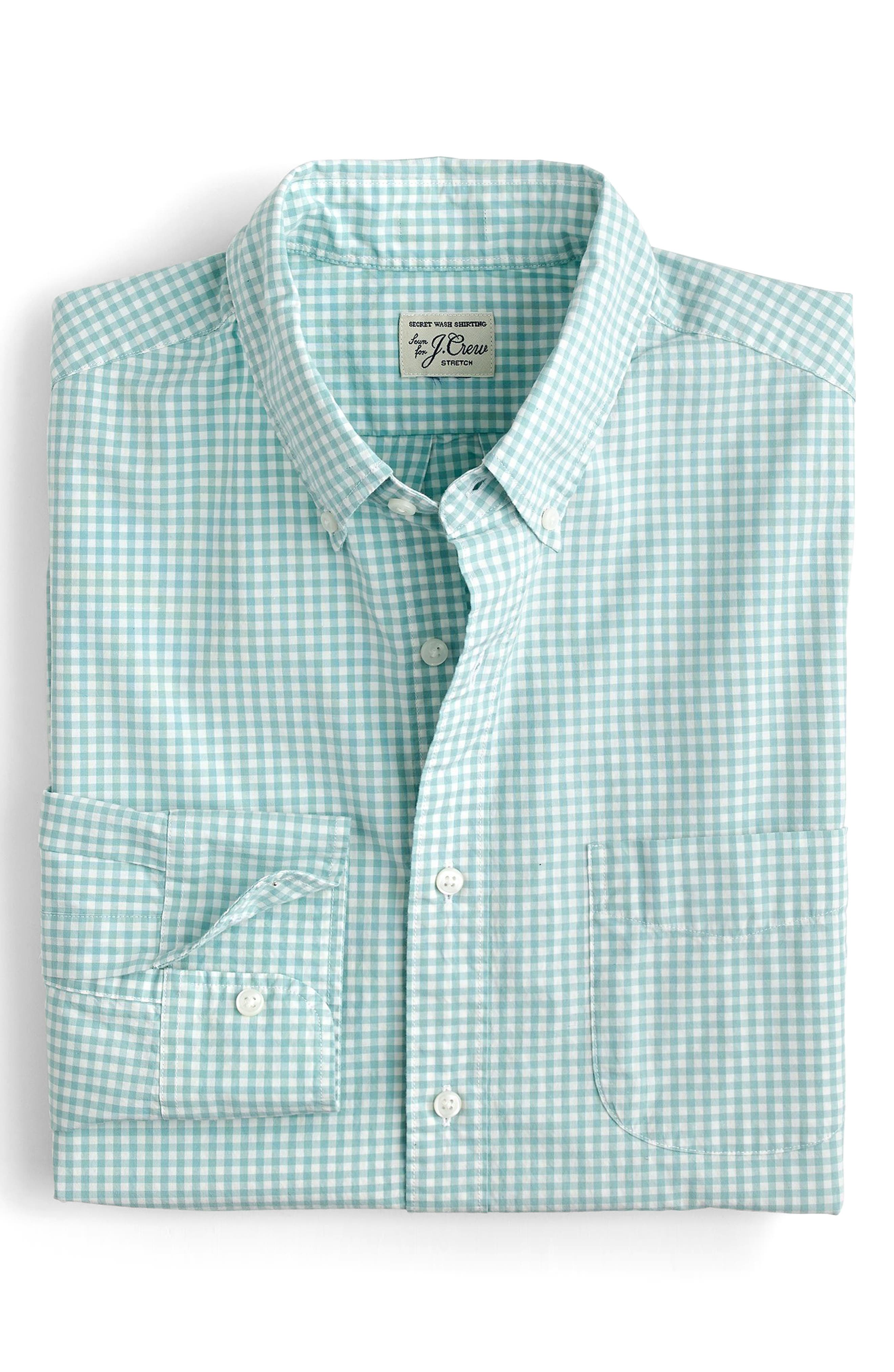 Slim Fit Stretch Secret Wash Gingham Sport Shirt,                         Main,                         color, Warm Aqua