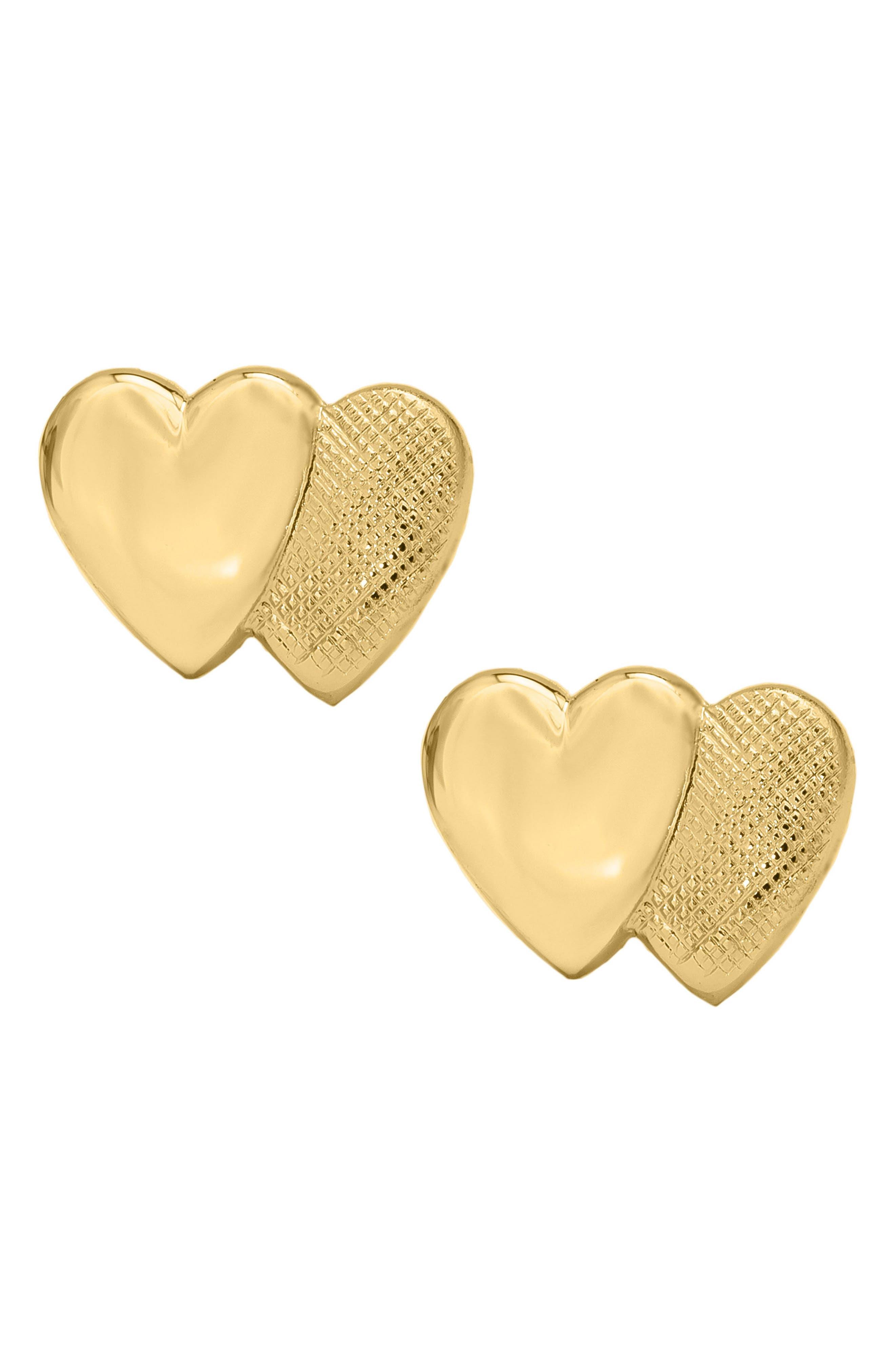14k Gold Double Heart Earrings,                             Main thumbnail 1, color,                             Gold