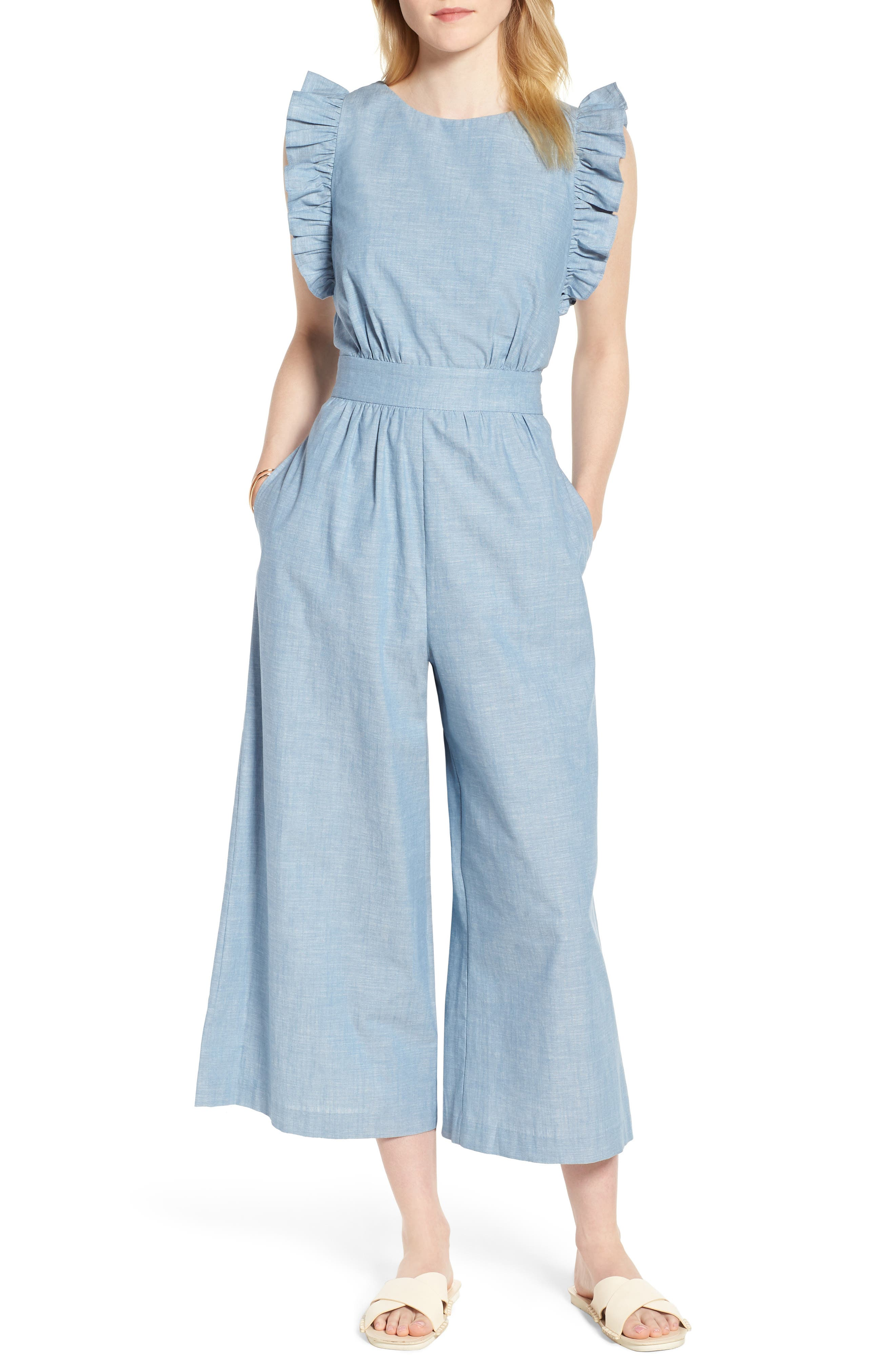 Ruffle Sleeve Jumpsuit,                         Main,                         color, Chambray