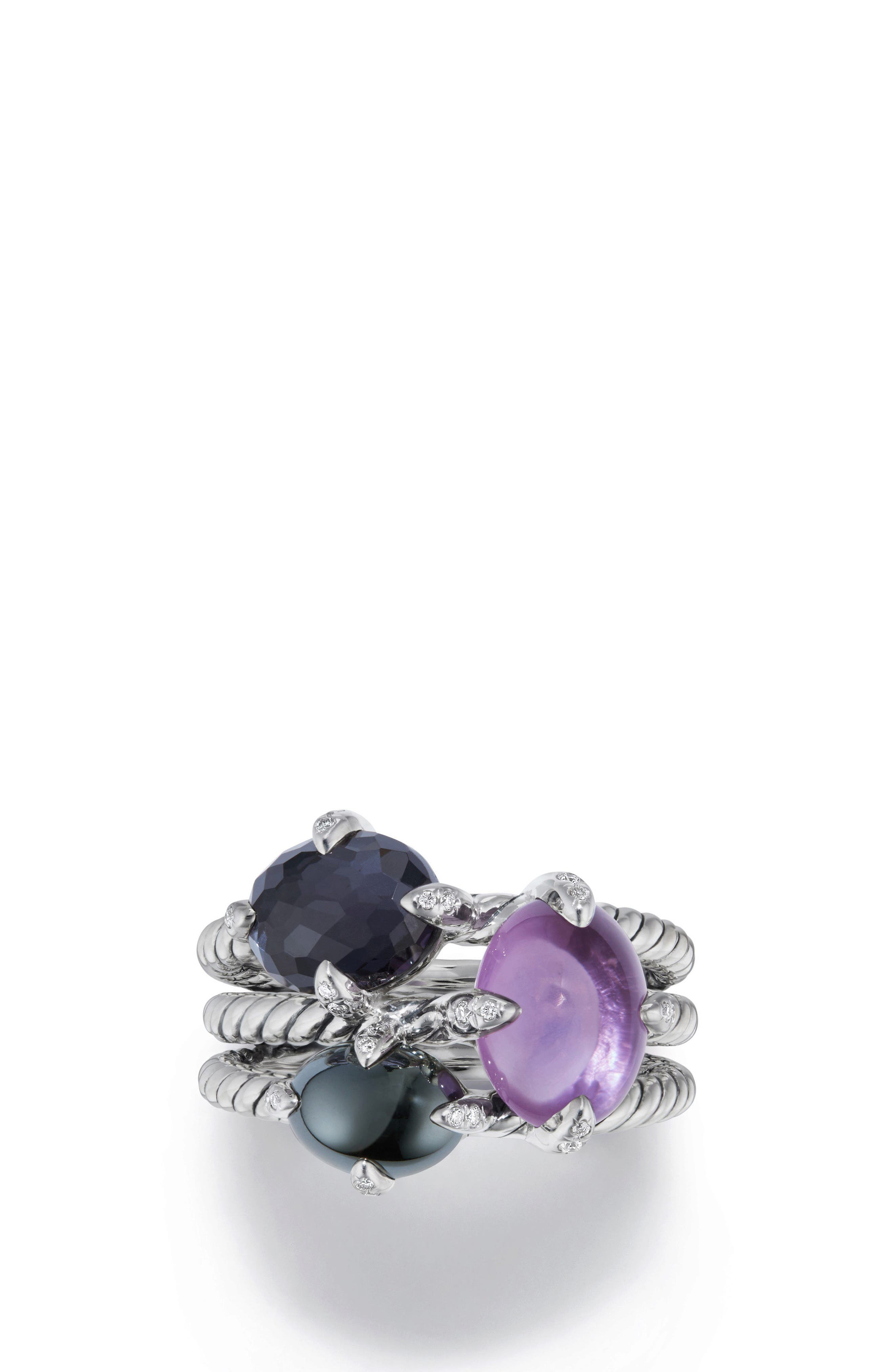 David Yurman Chatelaine® Three-Gemstone Diamond Ring