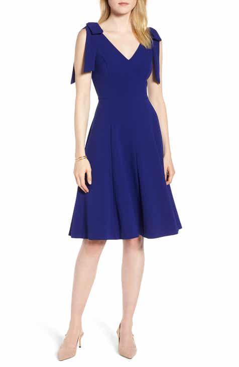 62005bbdd389 1901 Bow Shoulder Fit & Flare Cocktail Dress