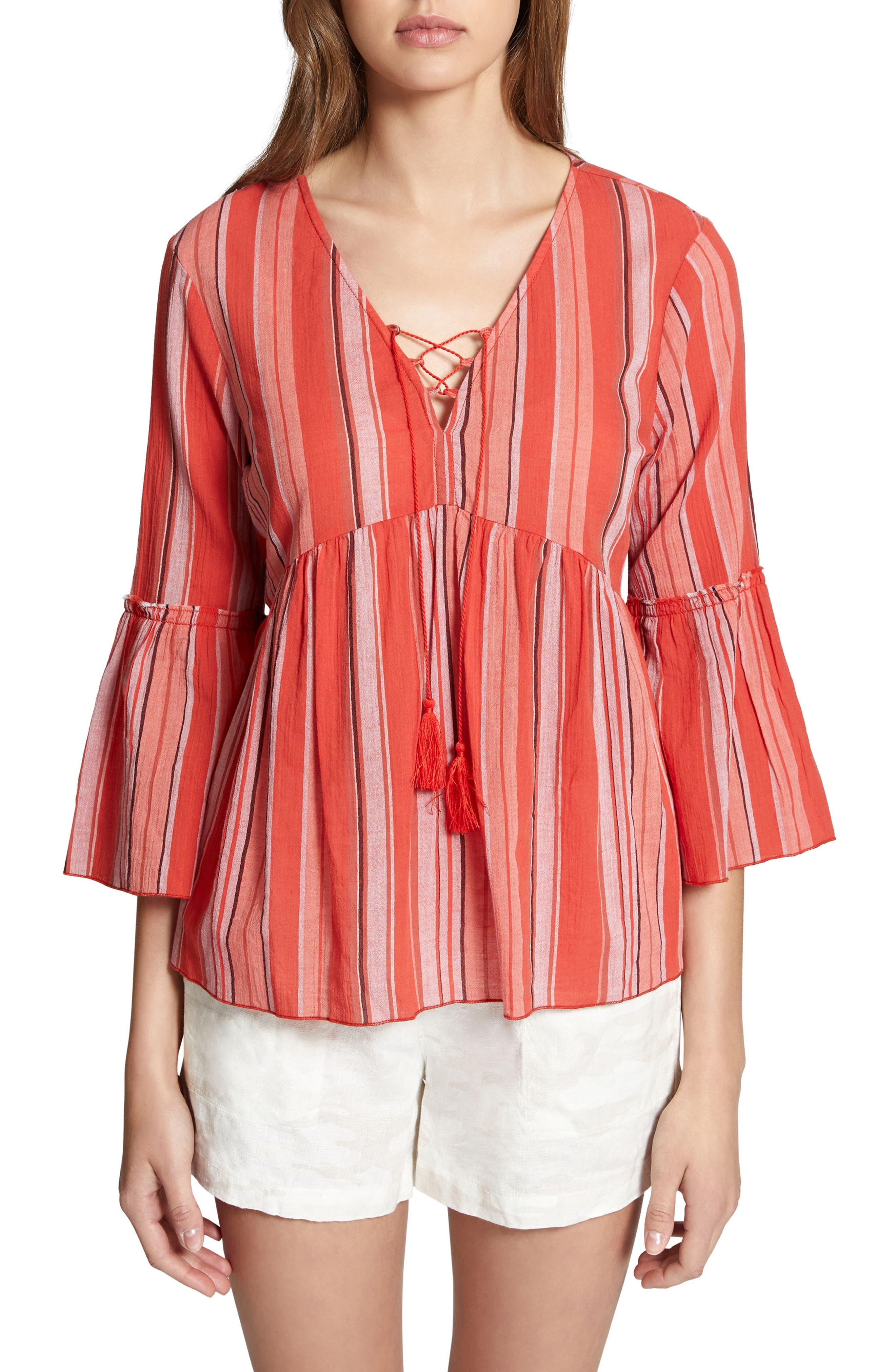 Sedona Lace-Up Blouse,                         Main,                         color, Sarape Stripe