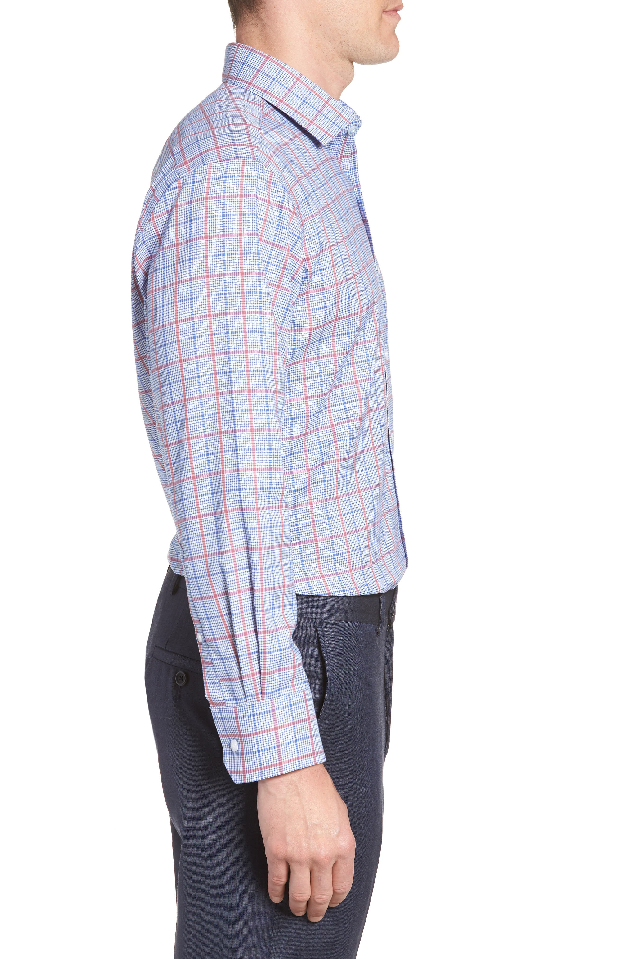 Kai Trim Fit Check Dress Shirt,                             Alternate thumbnail 4, color,                             Red/ Blue
