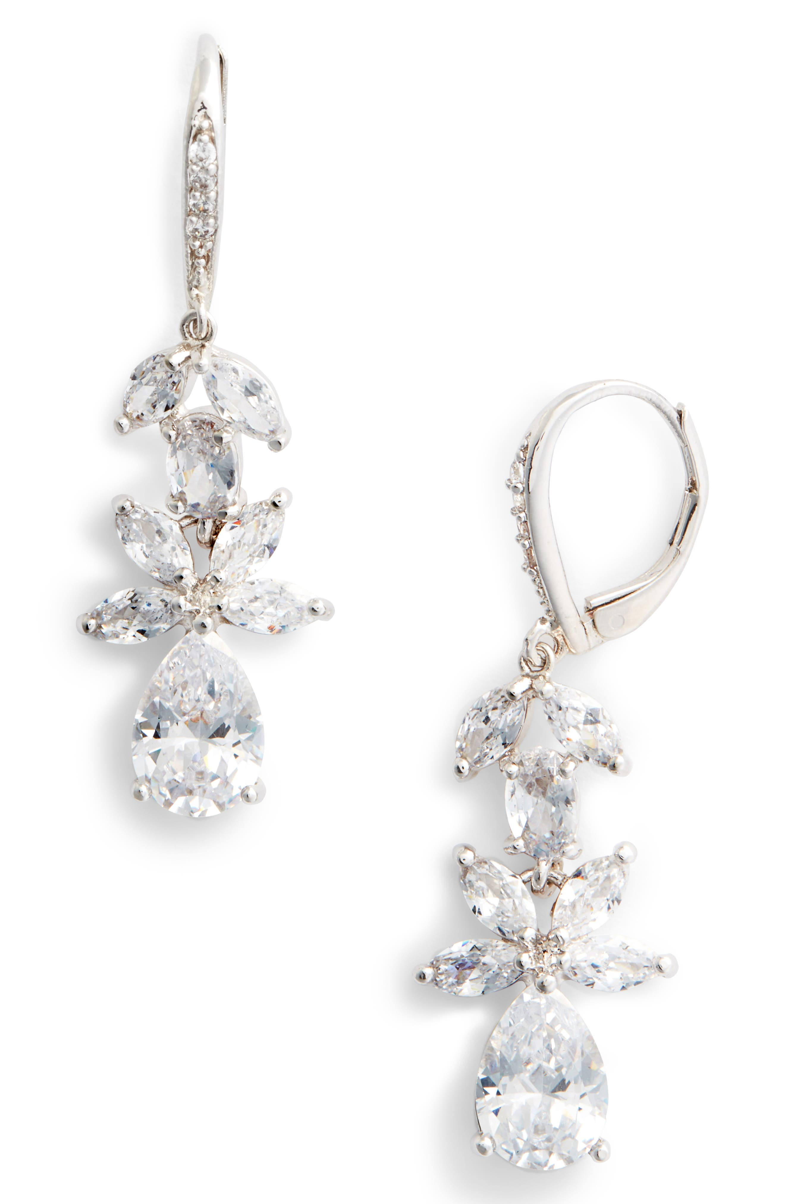 Floral Cubic Zirconia Earrings,                         Main,                         color, White/ Silver