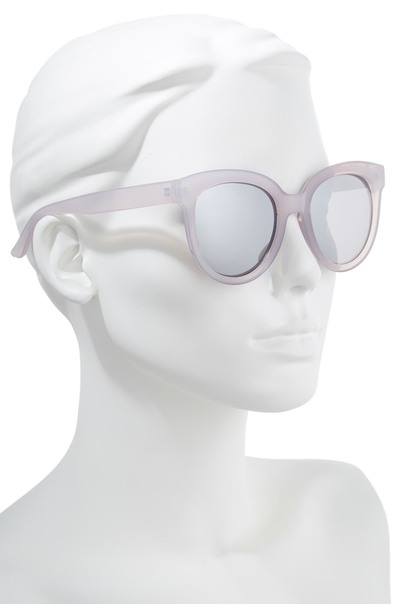 53mm Frosted Cat Eye Sunglasses,                             Alternate thumbnail 2, color,                             Milky Gray/ Silver