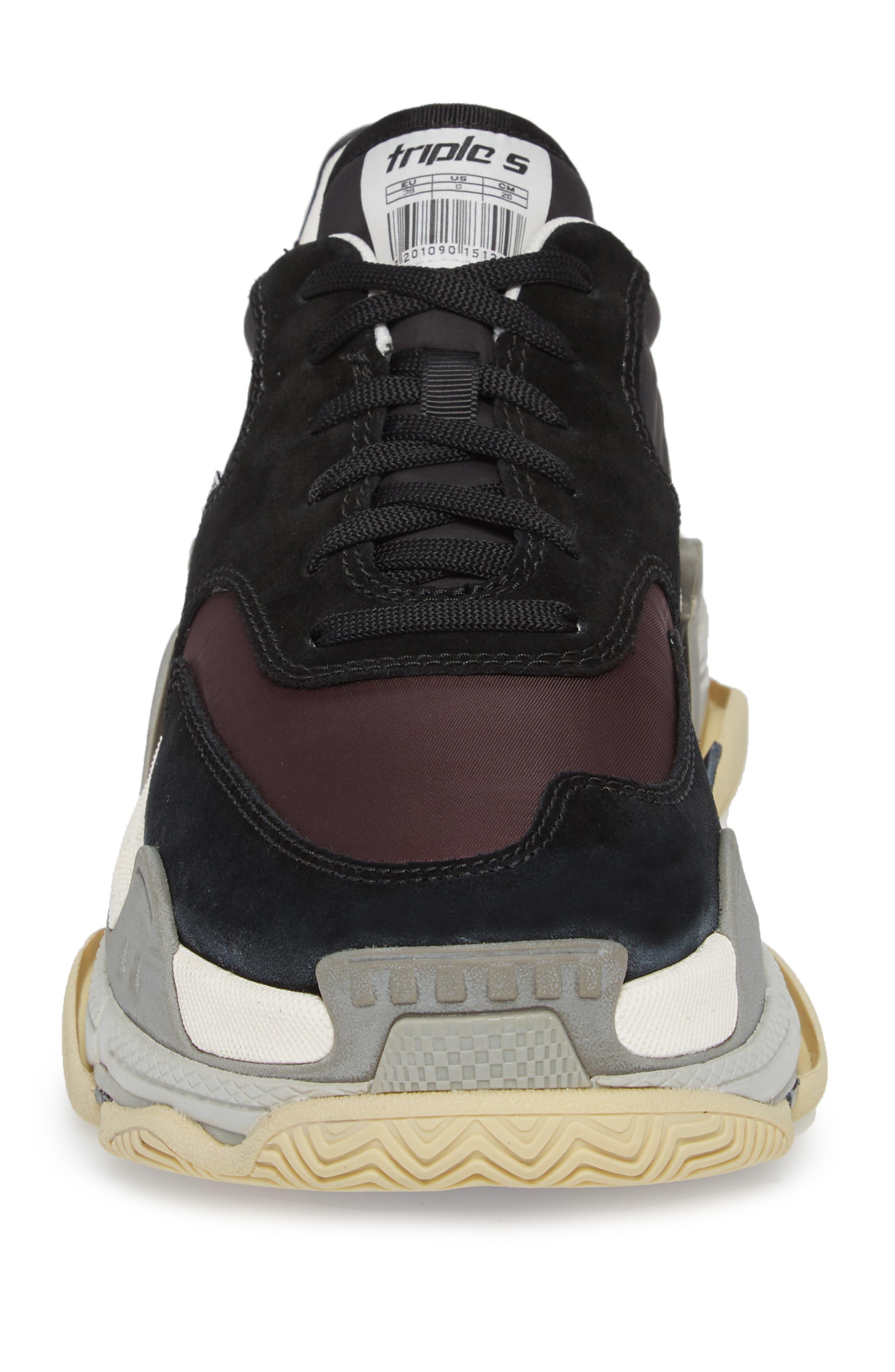 Triple S Retro Sneaker,                             Alternate thumbnail 4, color,                             Black/ Bordeaux