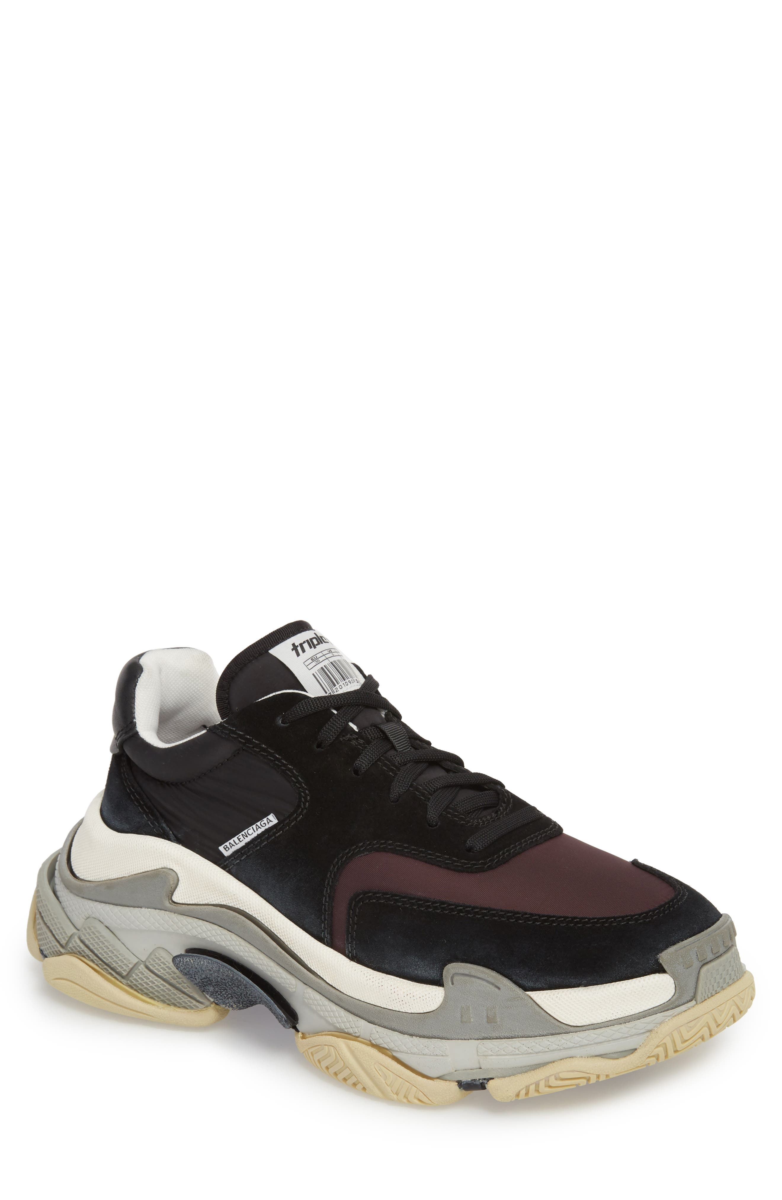 Triple S Retro Sneaker,                             Main thumbnail 1, color,                             Black/ Bordeaux
