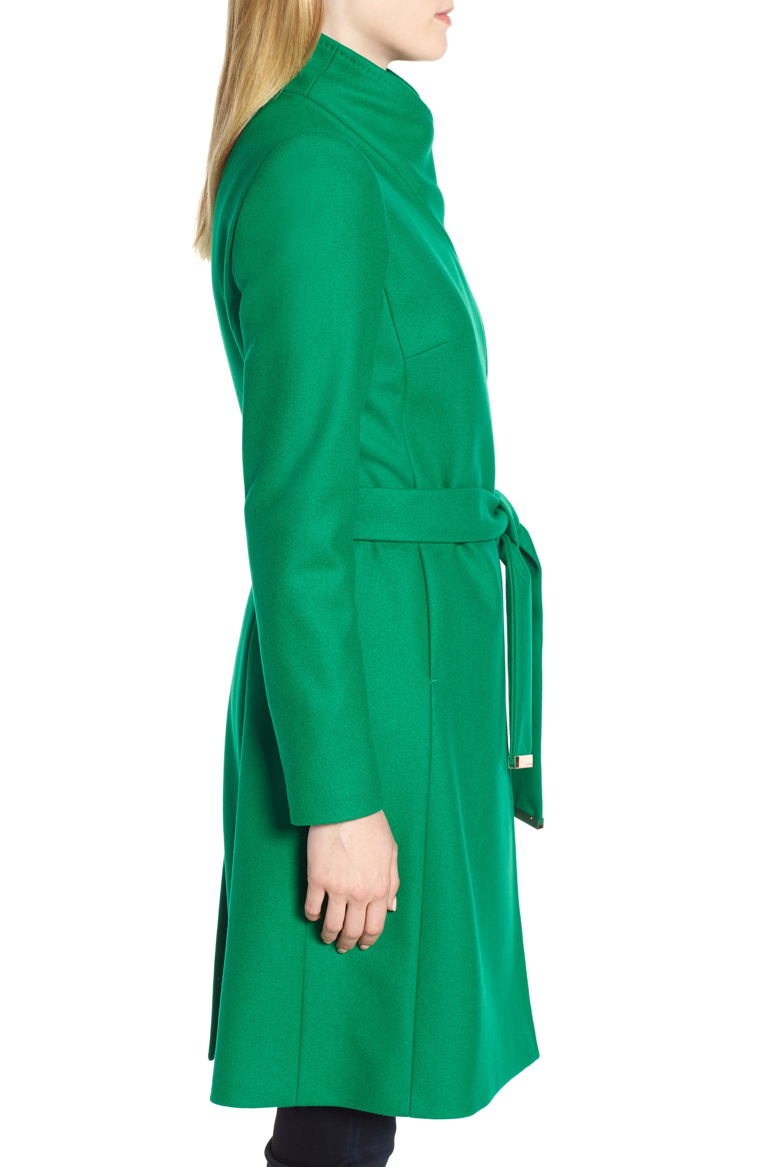 Wool Blend Long Wrap Coat,                             Alternate thumbnail 3, color,                             Bright Green