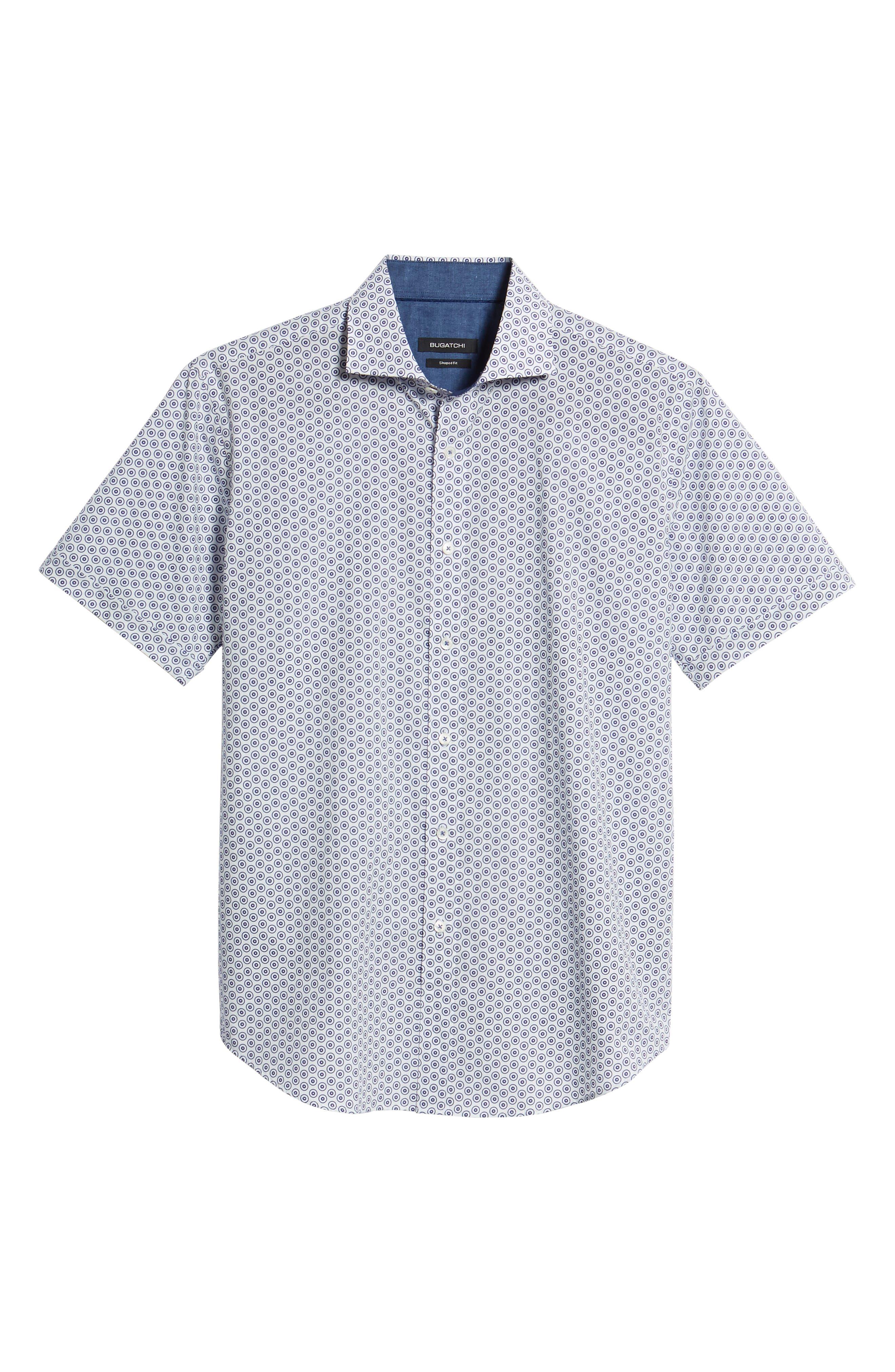 Shaped Fit Dot Circle Print Sport Shirt,                             Alternate thumbnail 6, color,                             White