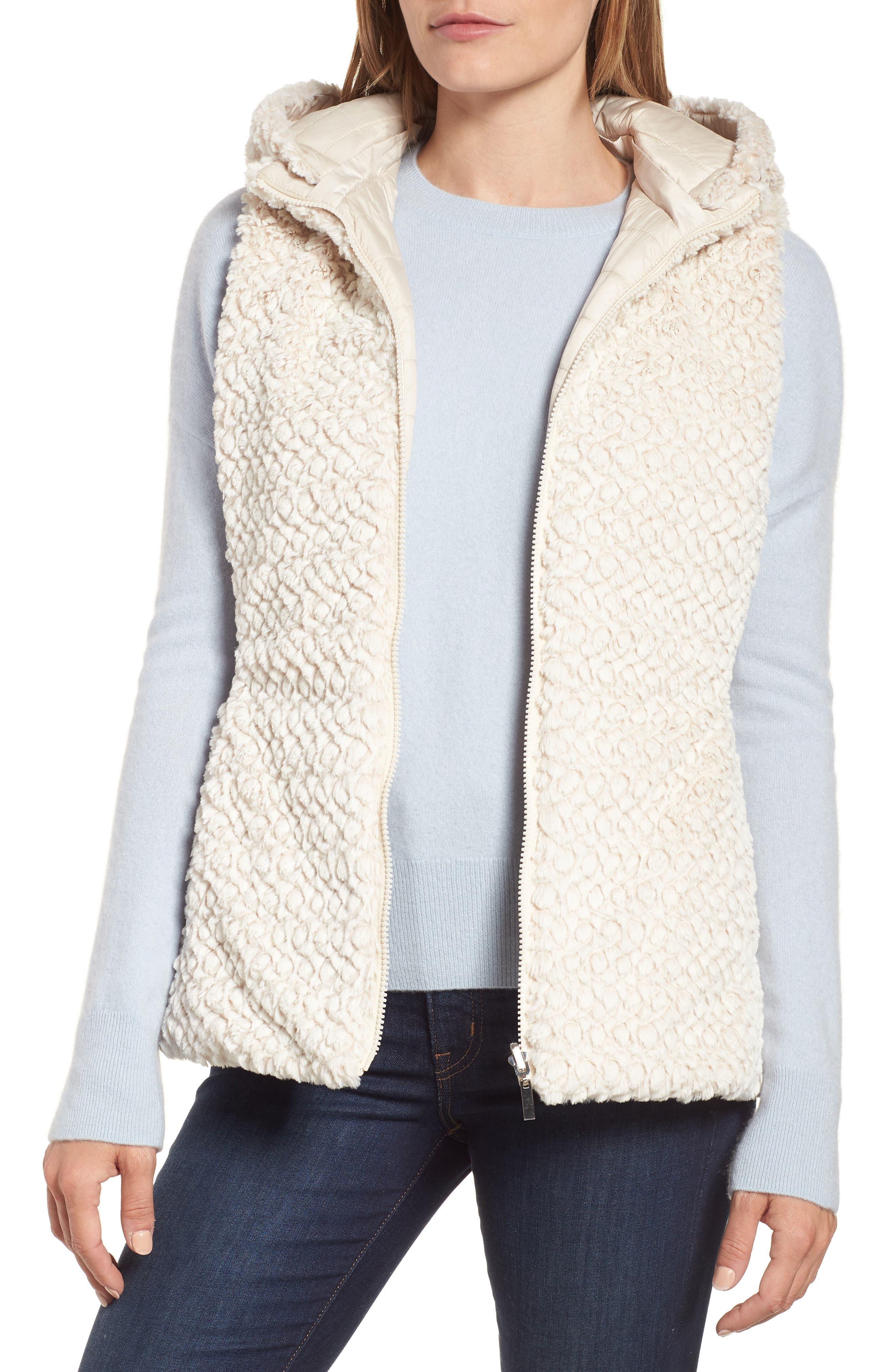 Faux Fur Reversible Hooded Vest,                             Alternate thumbnail 2, color,                             Custard