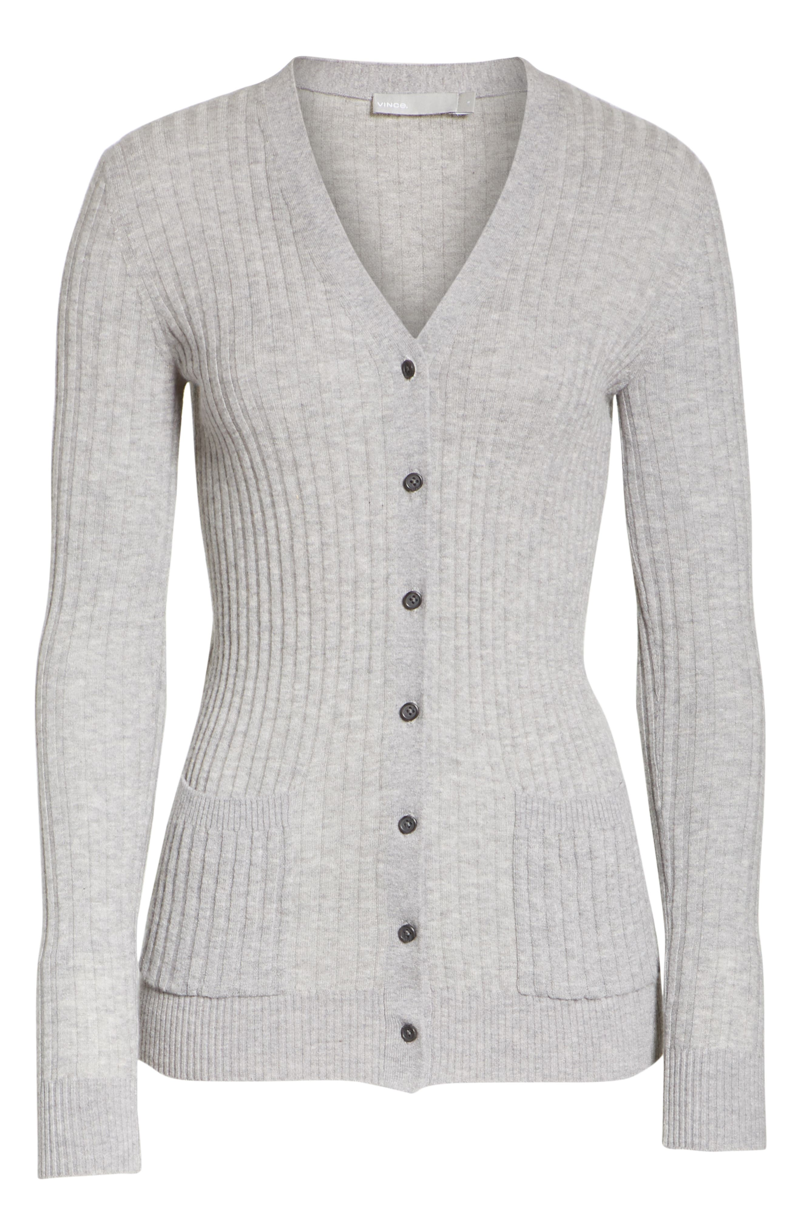 Ribbed Skinny Cashmere Cardigan,                             Alternate thumbnail 6, color,                             H Steel