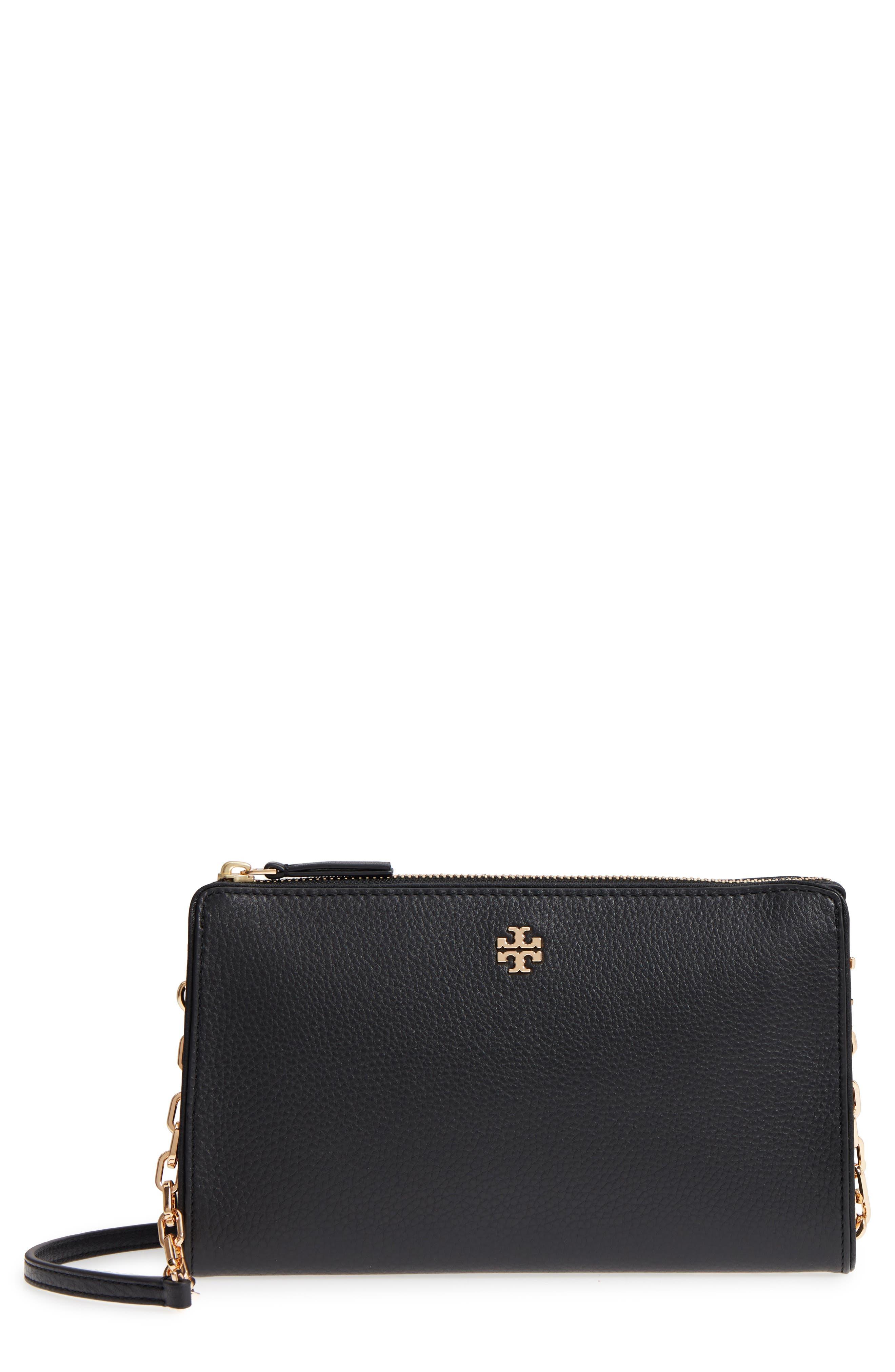 Marsden Leather Wallet Crossbody Bag,                             Main thumbnail 1, color,                             Black