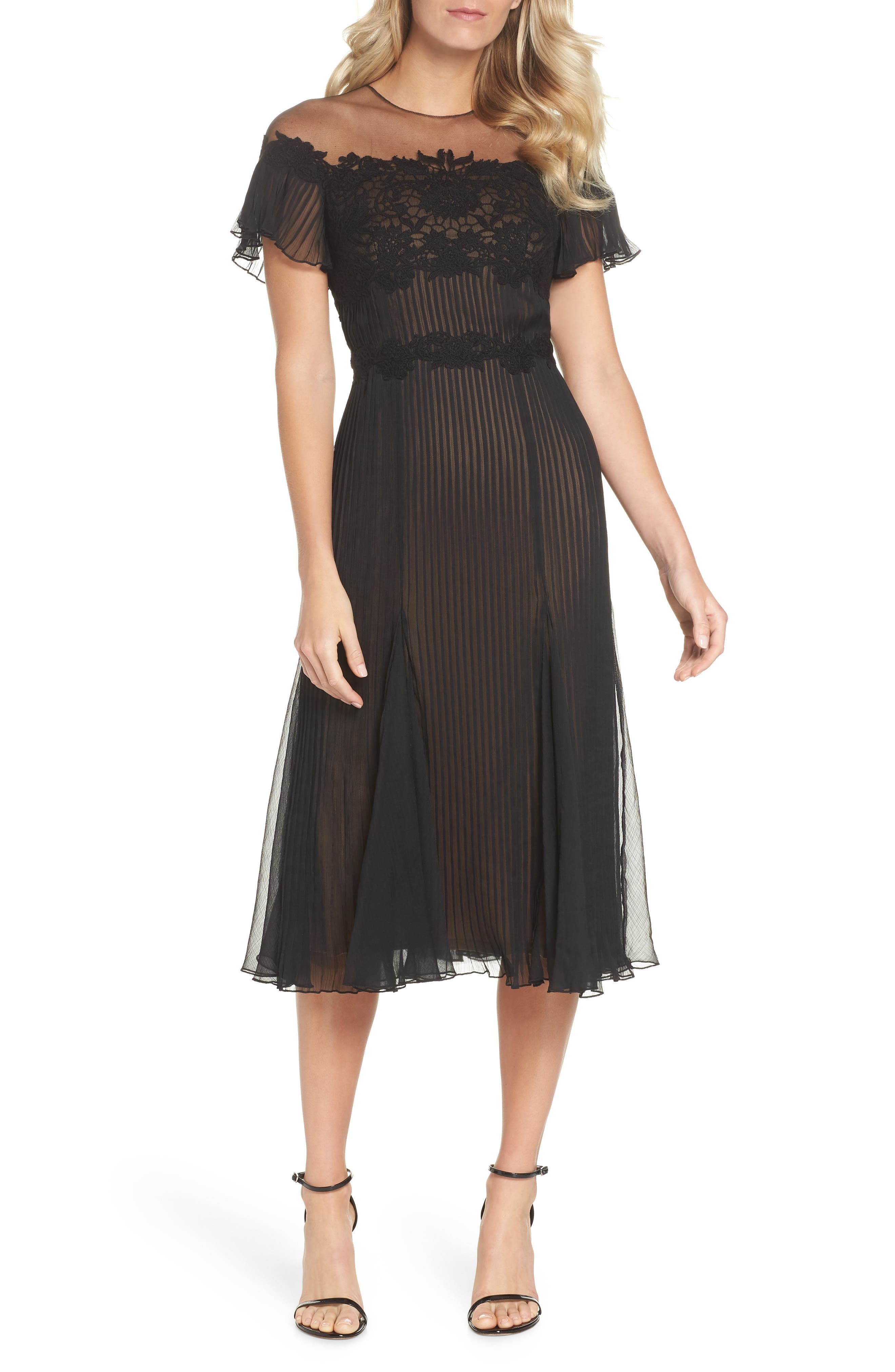 Lace & Chiffon A-Line Dress,                             Main thumbnail 1, color,                             Black/ Nude
