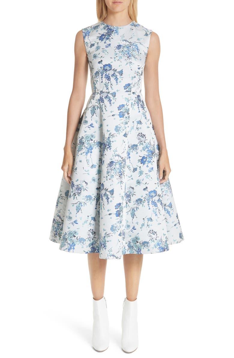 Floral Jacquard Fluted Dress