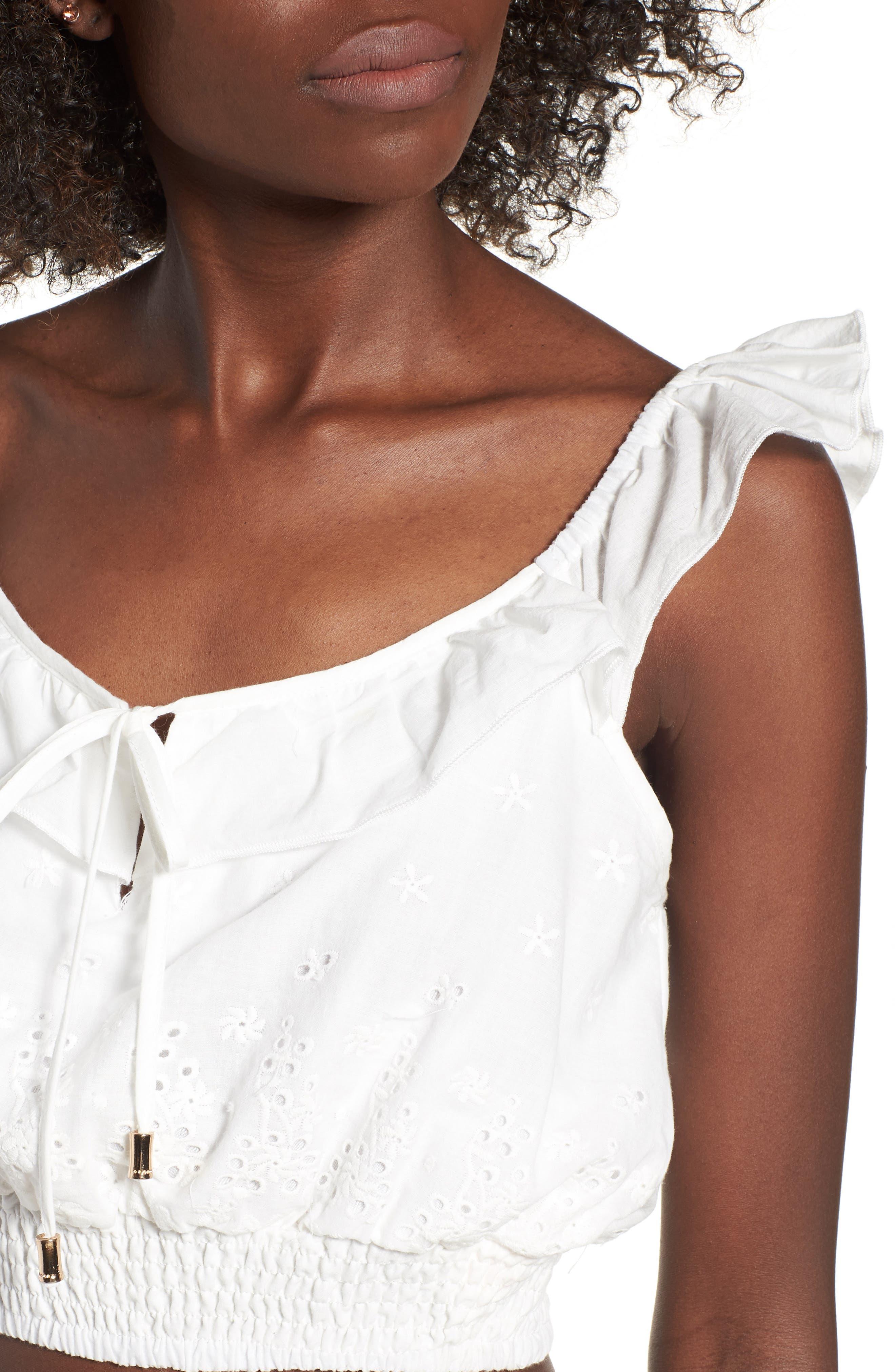 Bianco Eyelet Crop Top,                             Alternate thumbnail 6, color,                             White