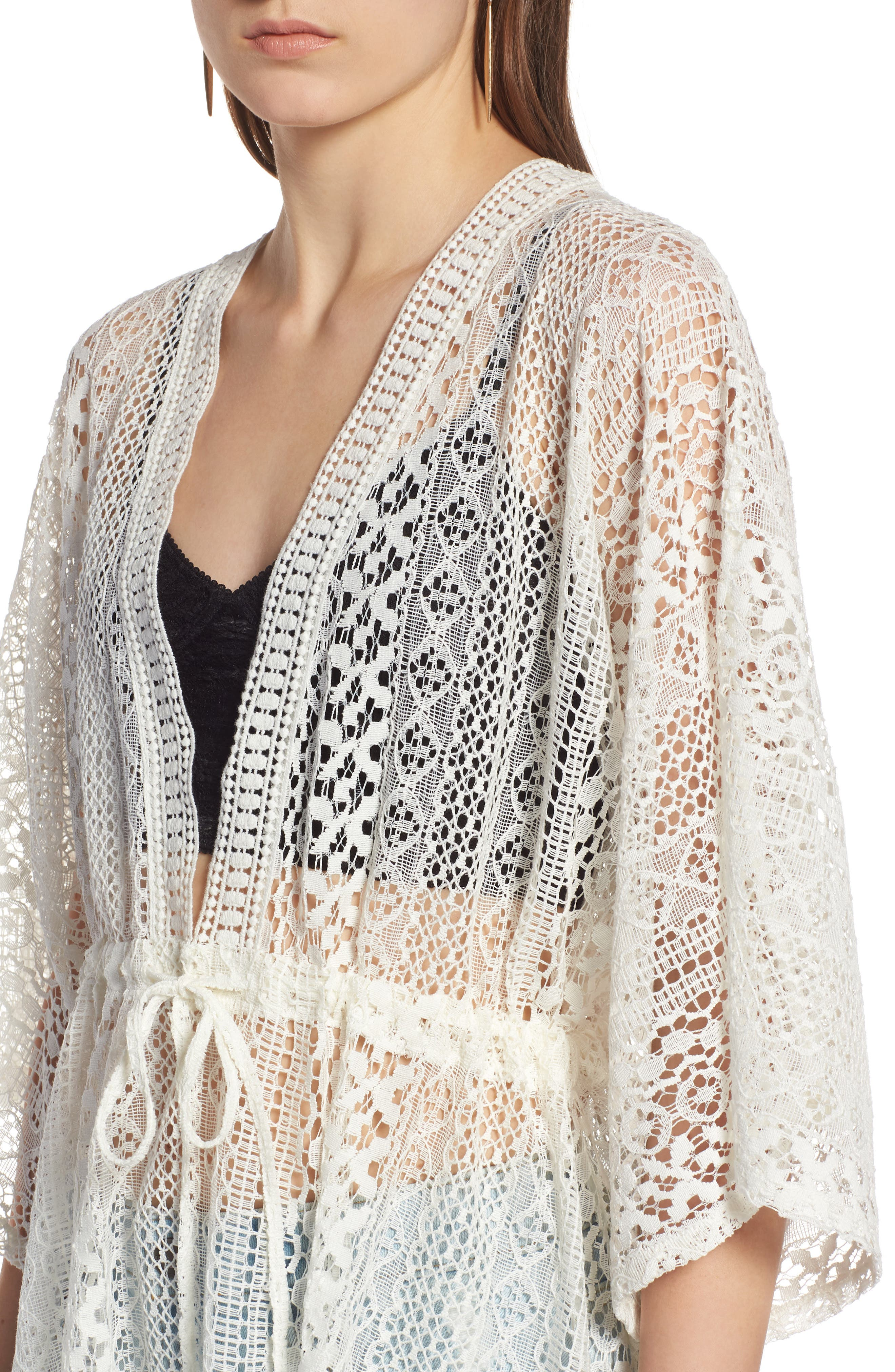 Lace Kimono Pullover,                             Alternate thumbnail 4, color,                             White