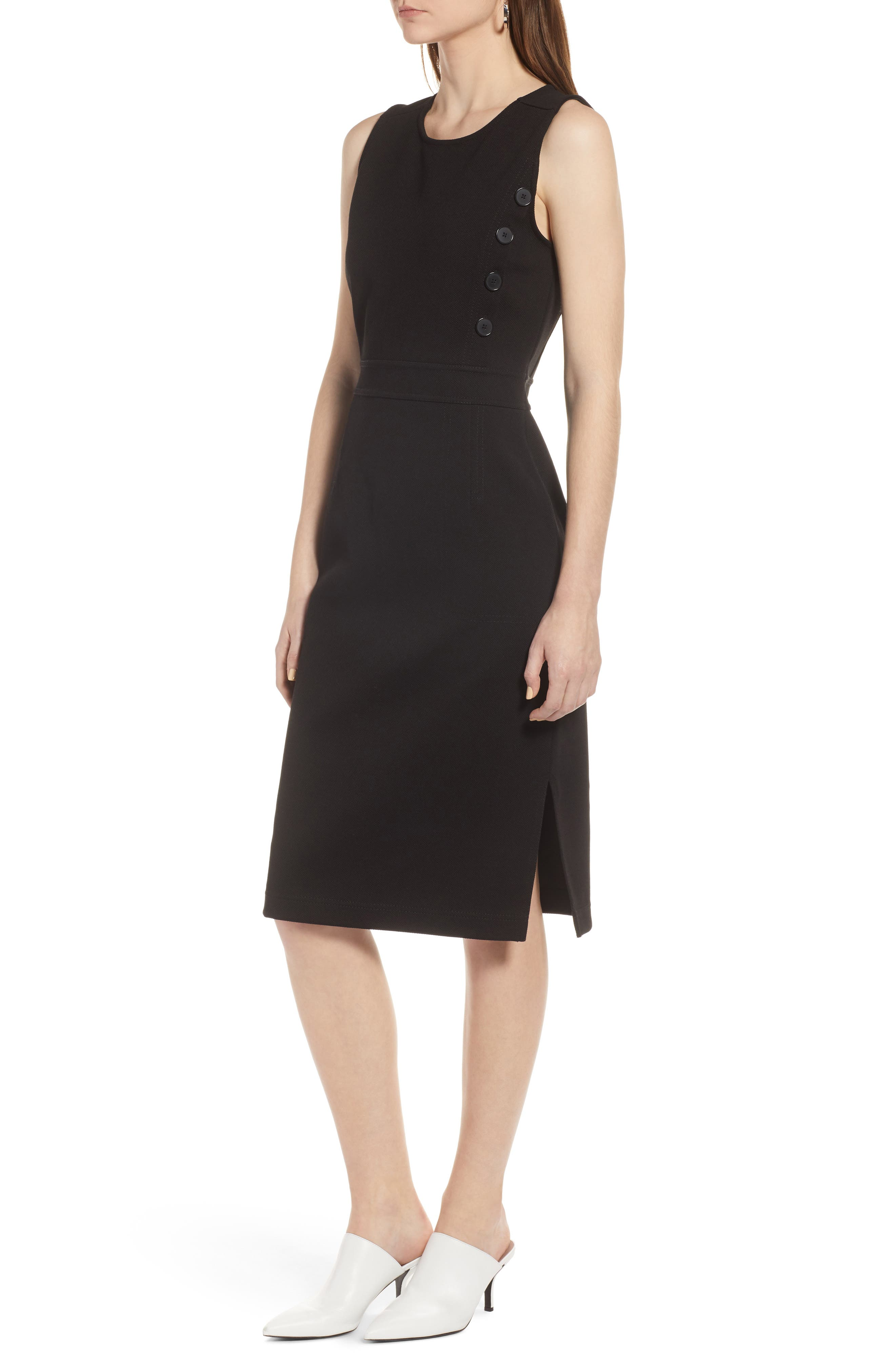 Knit Sheath Dress,                             Alternate thumbnail 3, color,                             Black