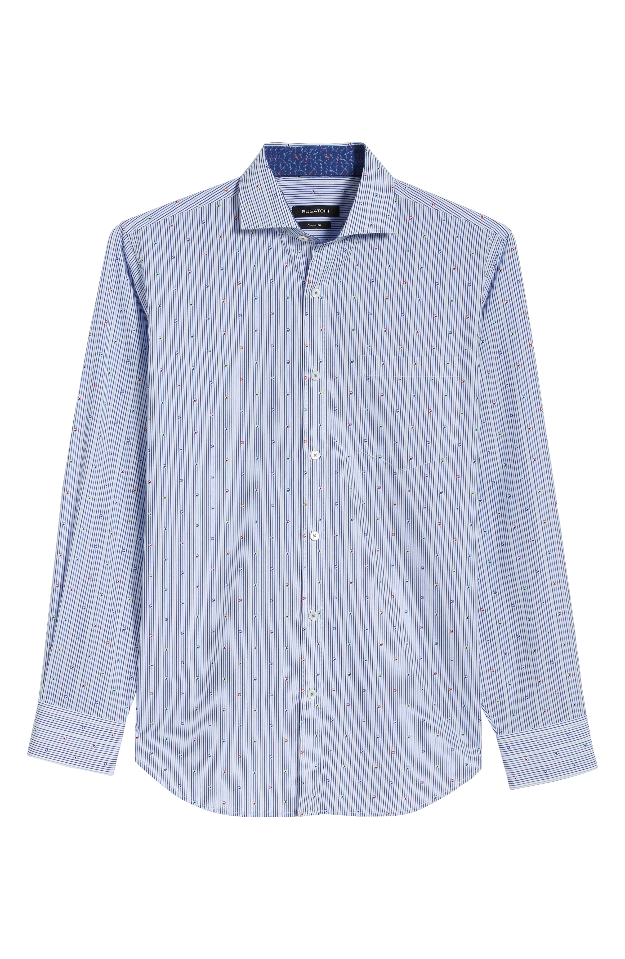 Classic Fit Stripe Sport Shirt,                             Alternate thumbnail 6, color,                             Navy