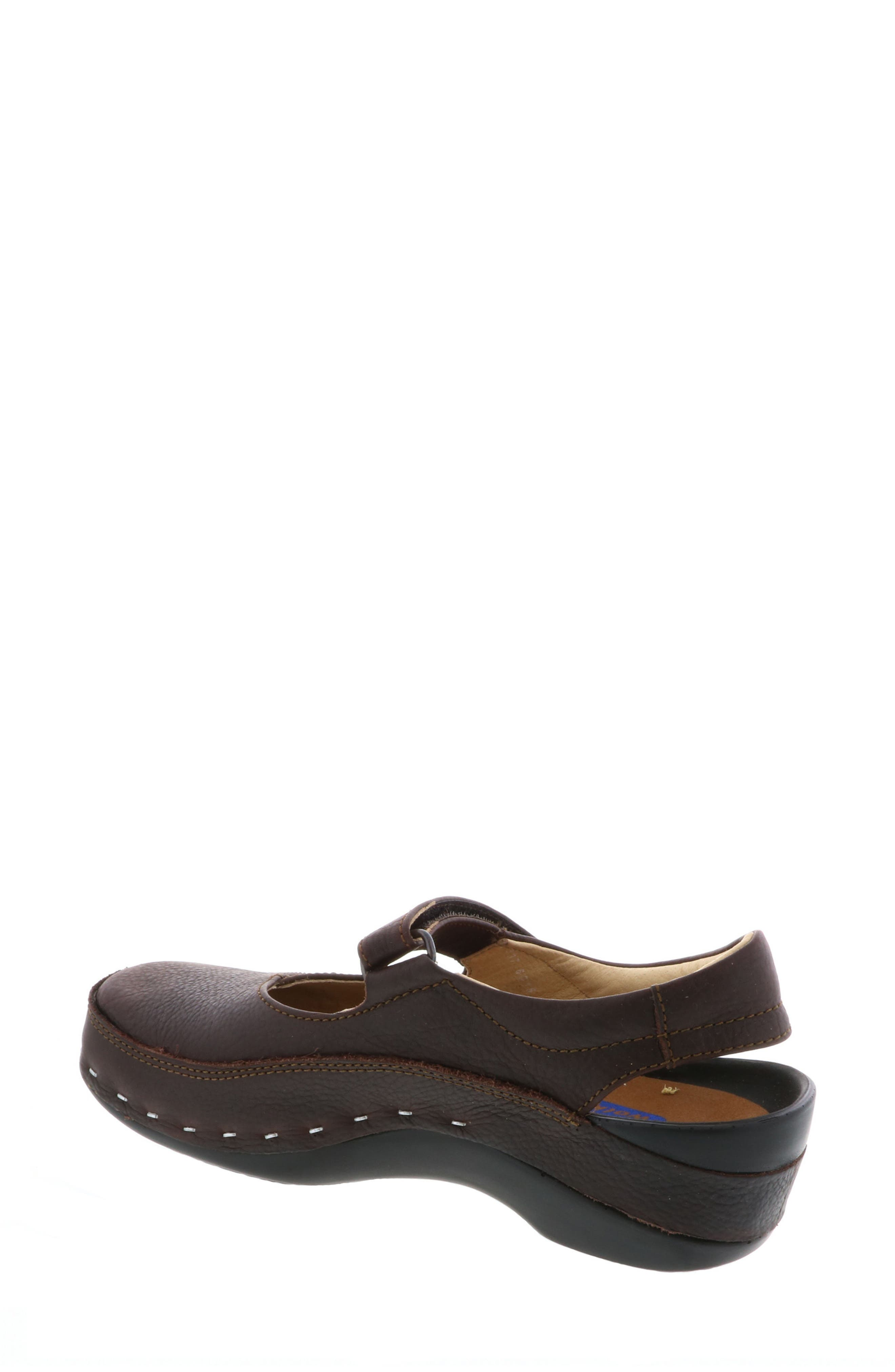 Ankle Strap Clog,                             Alternate thumbnail 2, color,                             Brown Leather
