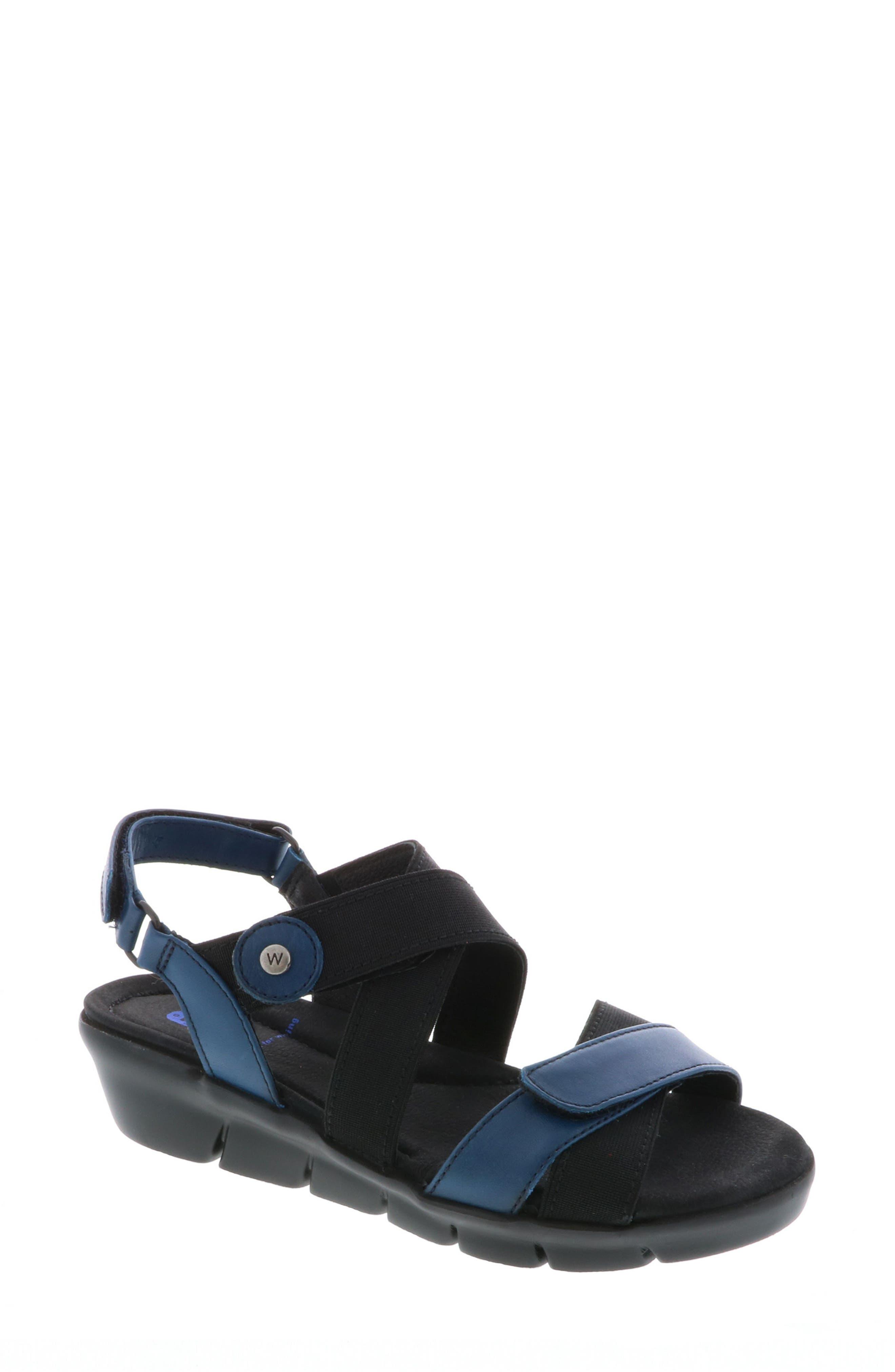 Electra Sandal,                             Main thumbnail 1, color,                             Blue Faux Leather