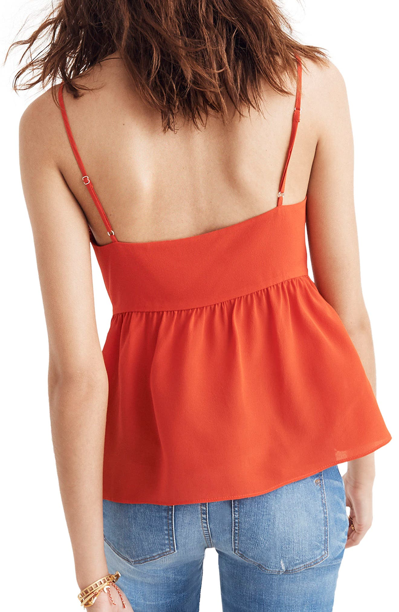 Tie Front Keyhole Silk Camisole,                             Alternate thumbnail 2, color,                             Ripe Persimmon