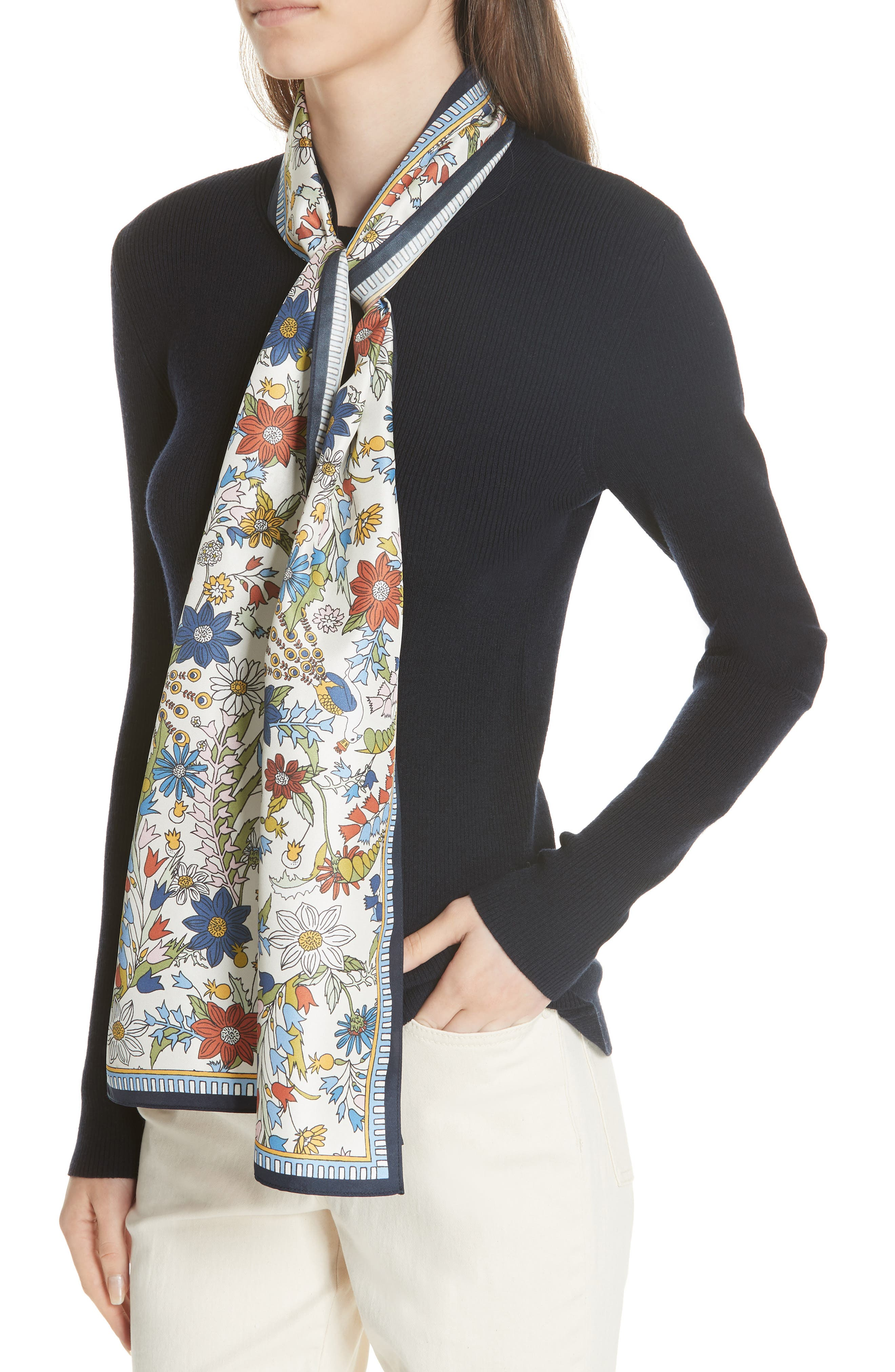 Laura Rib Knit Sweater & Silk Scarf,                             Alternate thumbnail 4, color,                             Tory Navy