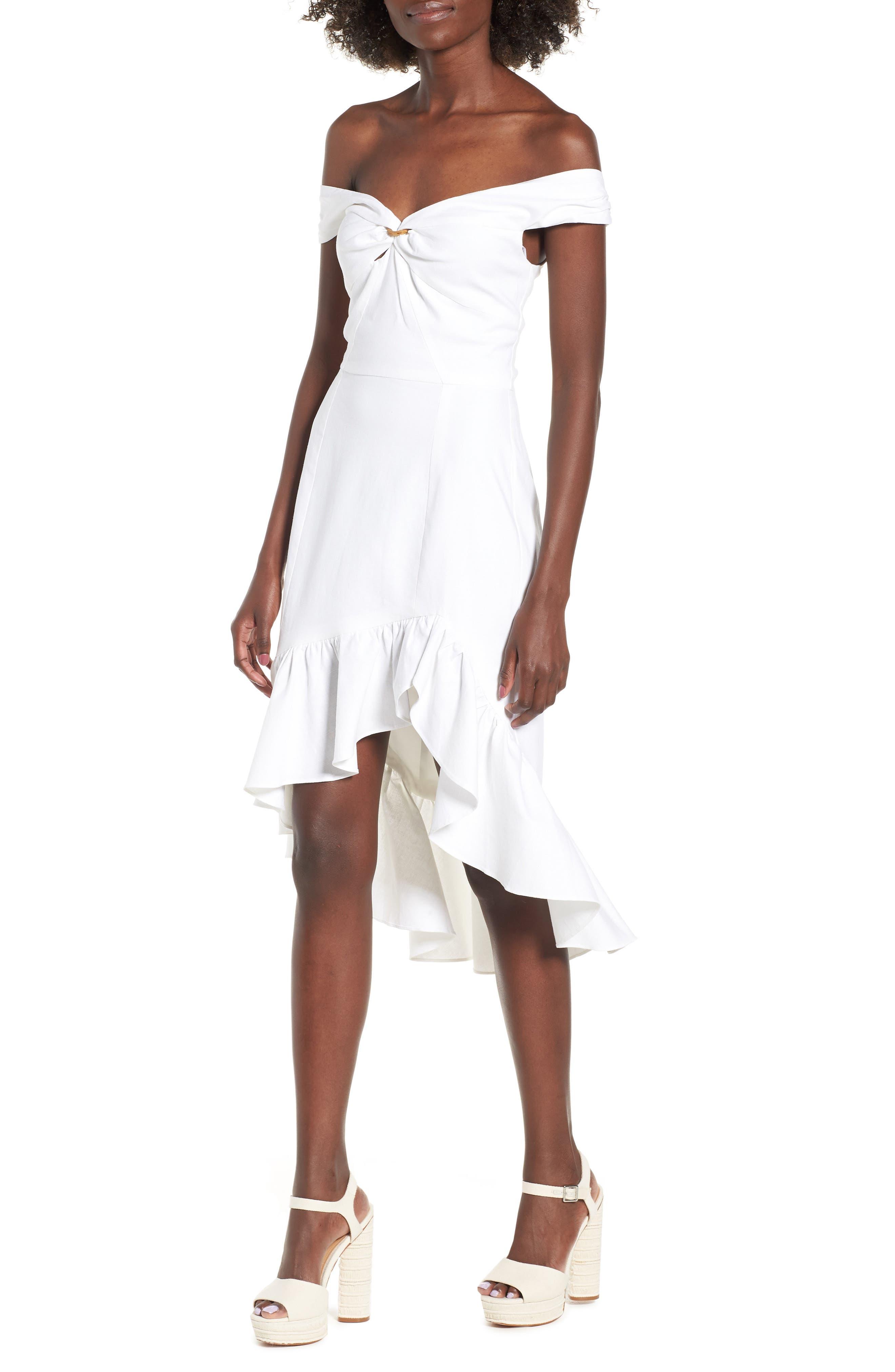 Genoa Off the Shoulder Dress,                         Main,                         color, Ivory