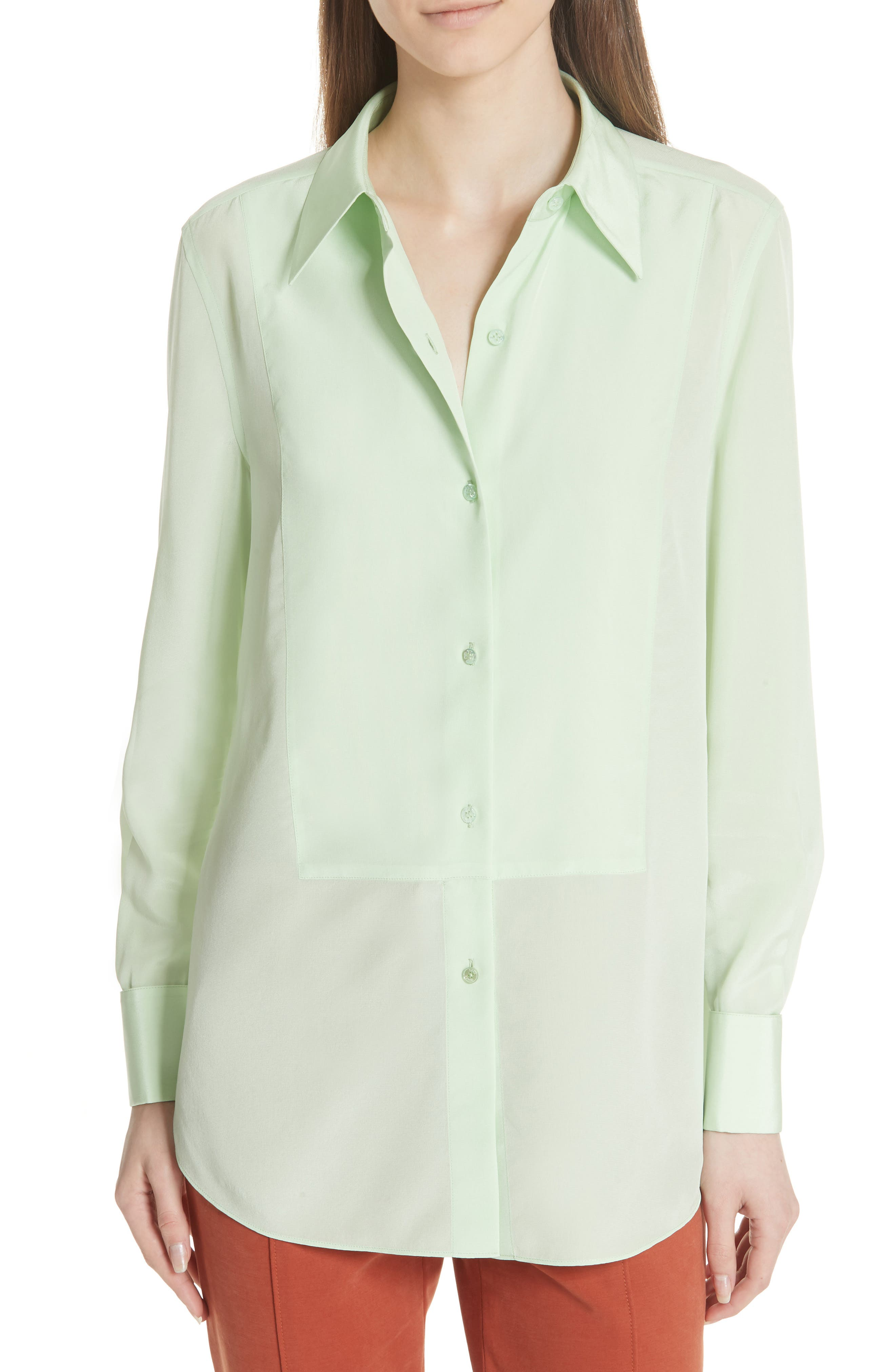 Janet Silk Top,                             Main thumbnail 1, color,                             Crushed Mint