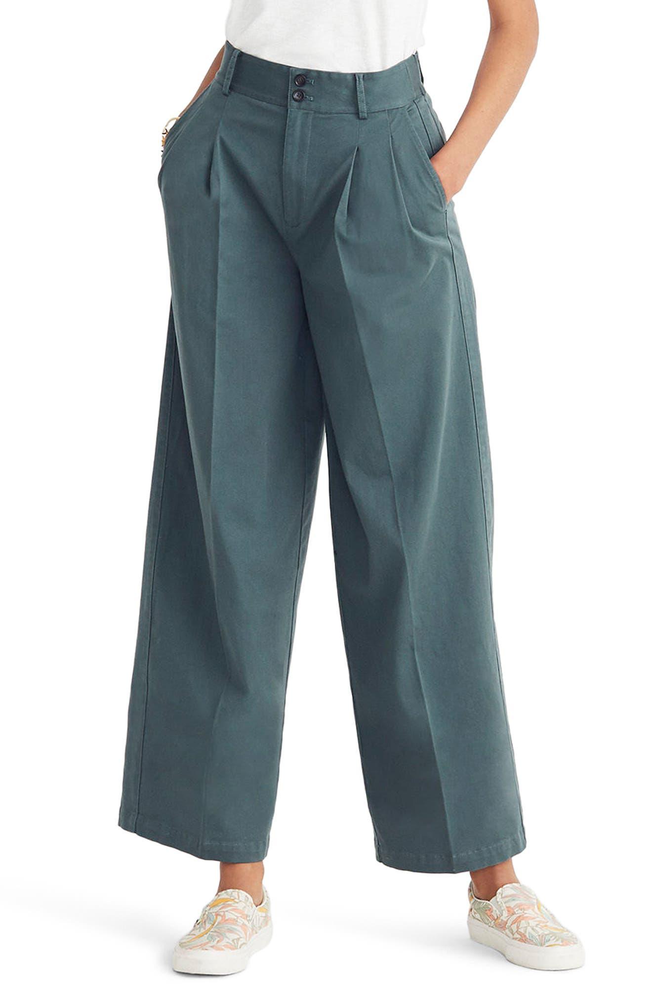 High Waist Crop Wide Leg Pants,                             Main thumbnail 1, color,                             Architect Green