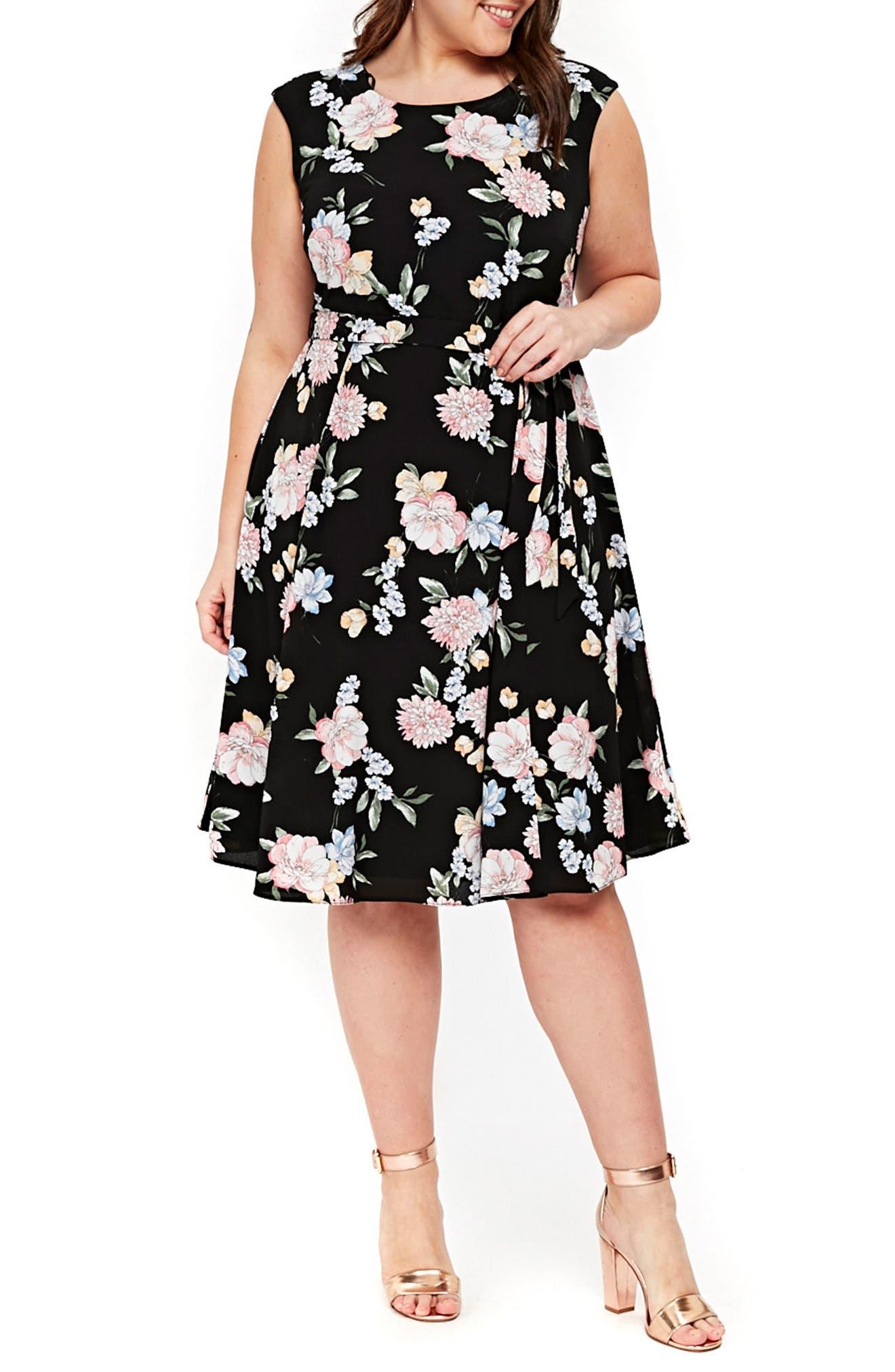 Evans Floral Print Tie Waist Dress (Plus Size)