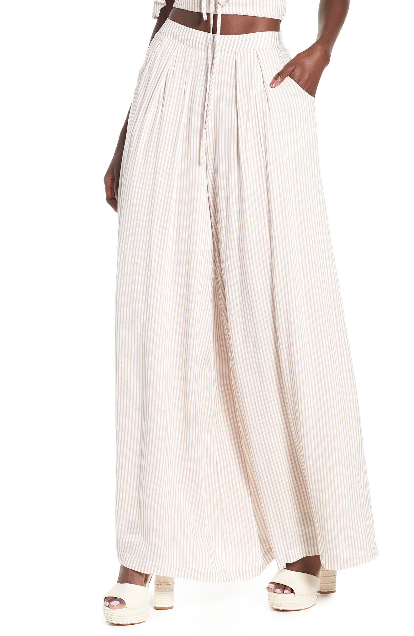 Stripe Wide Leg Pants by 4 Si3 Nna