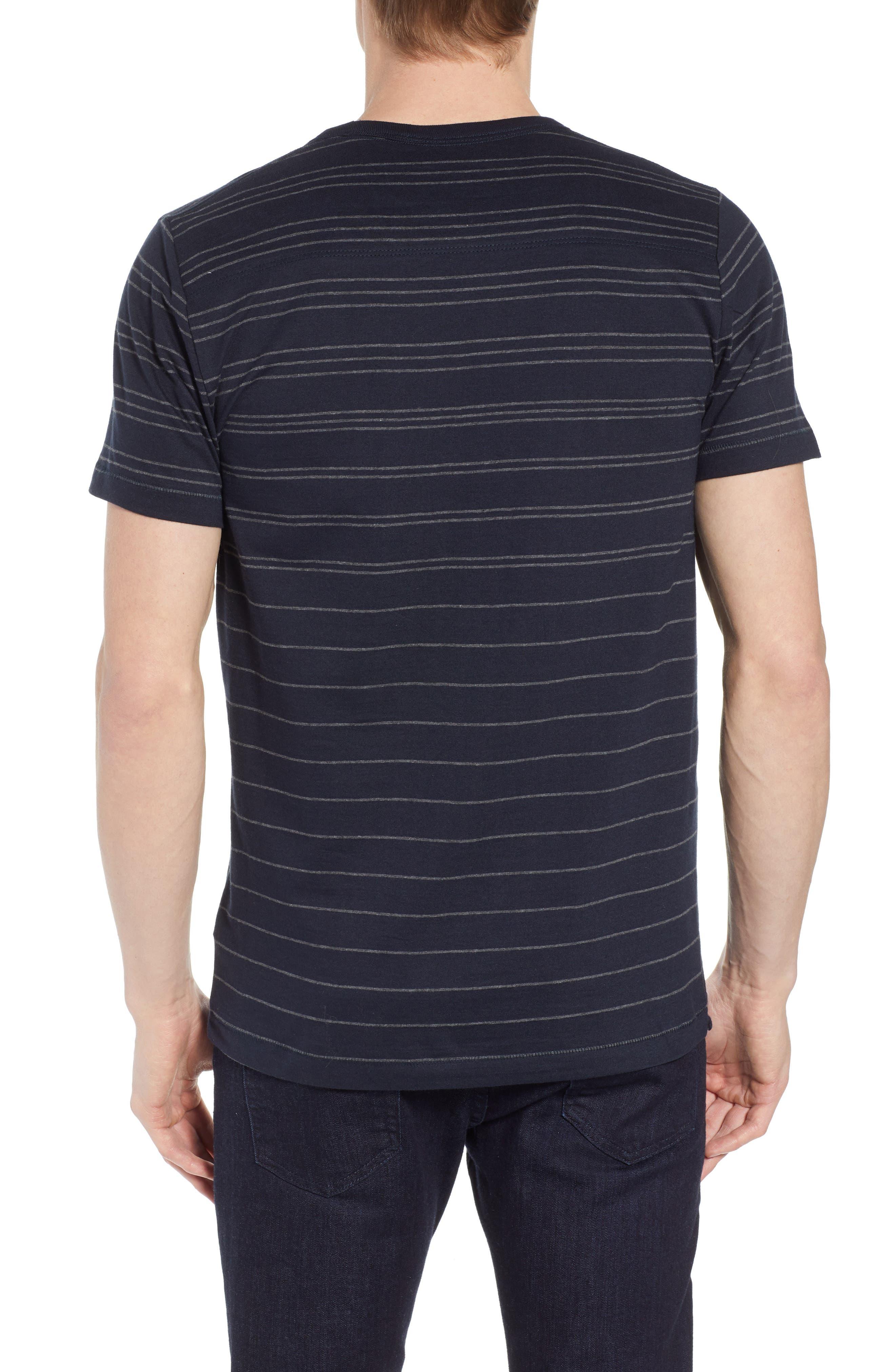 Summer Graded Stripe Pocket T-Shirt,                             Alternate thumbnail 2, color,                             Marine Blue Charcoal Melange