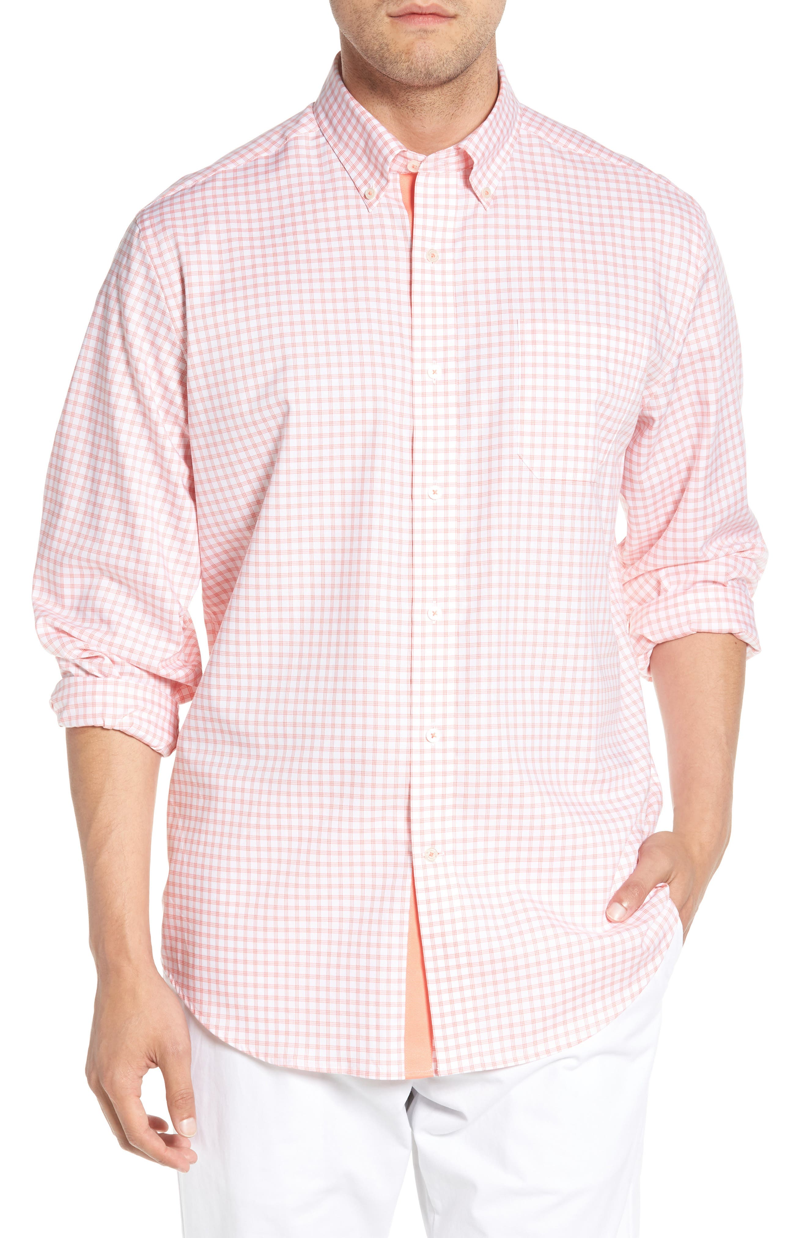 Like Oak Regular Fit Check Sport Shirt,                             Main thumbnail 1, color,                             Shell Pink