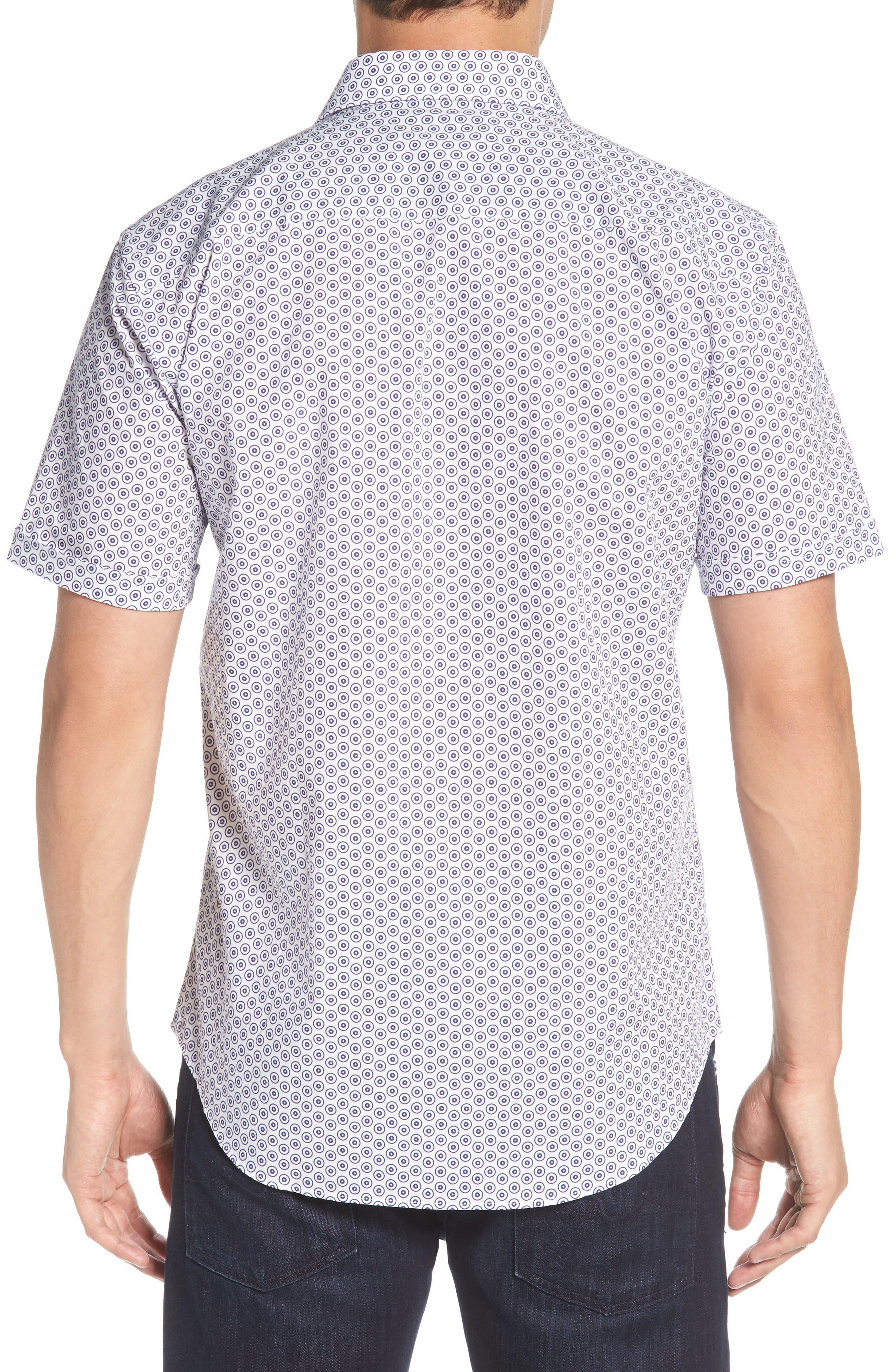 Shaped Fit Dot Circle Print Sport Shirt,                             Alternate thumbnail 2, color,                             White