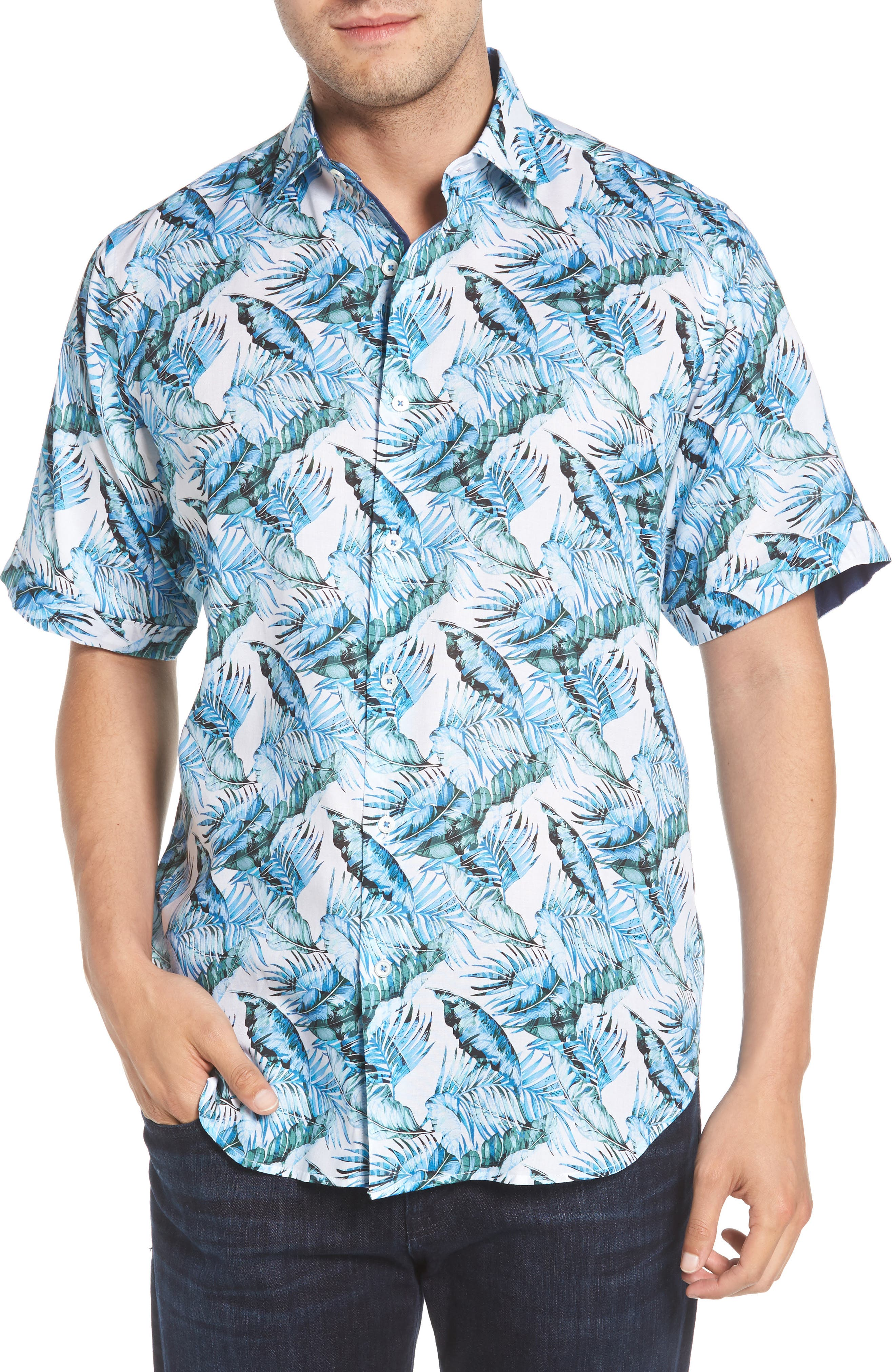 Classic Fit Palm Print Sport Shirt,                         Main,                         color, Turquoise
