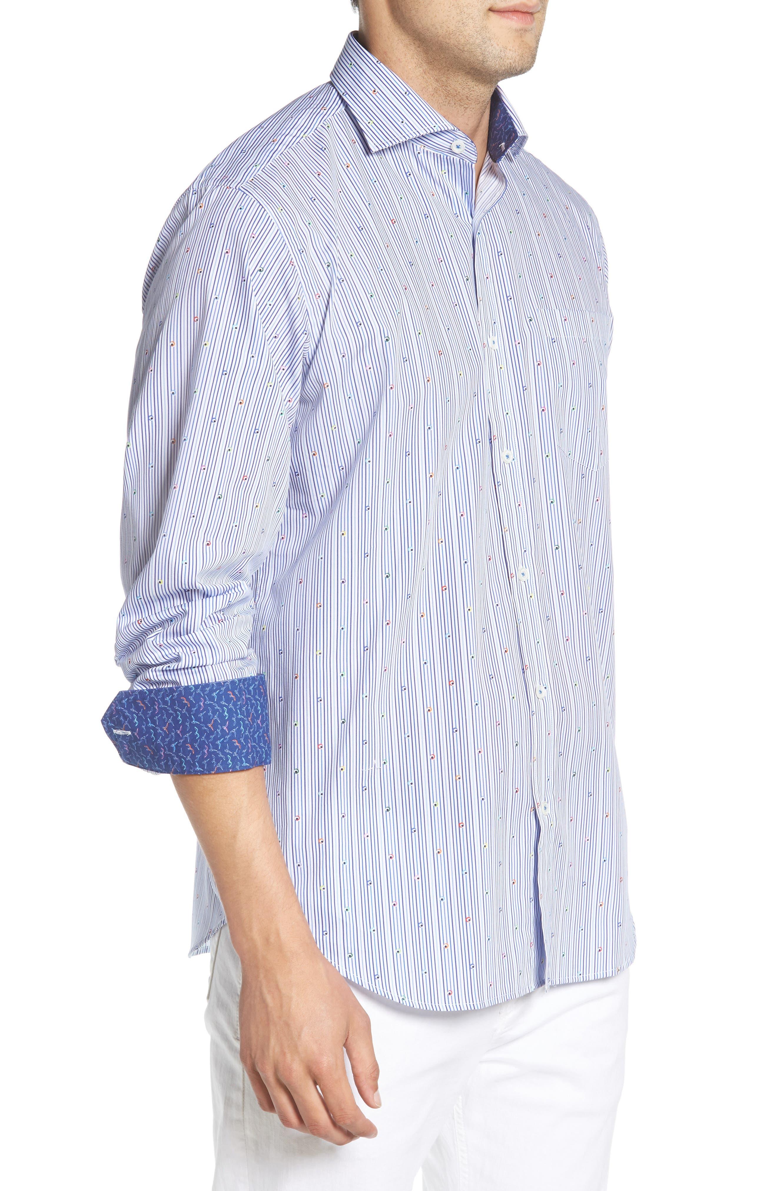 Classic Fit Stripe Sport Shirt,                             Alternate thumbnail 4, color,                             Navy