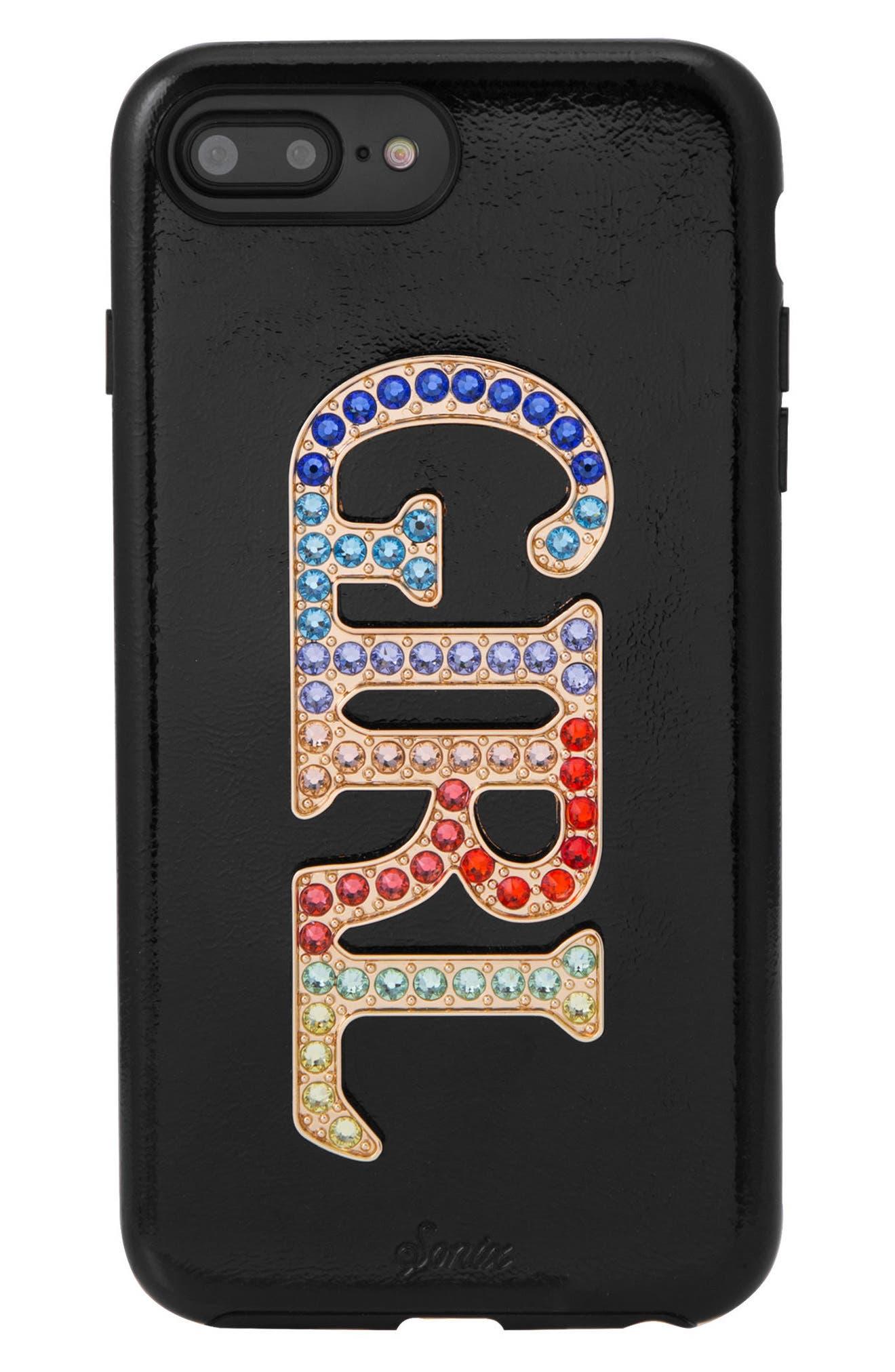 Girl Crystal Embellished iPhone 6/6s/7/8 Plus Case,                         Main,                         color, Black/ Multi