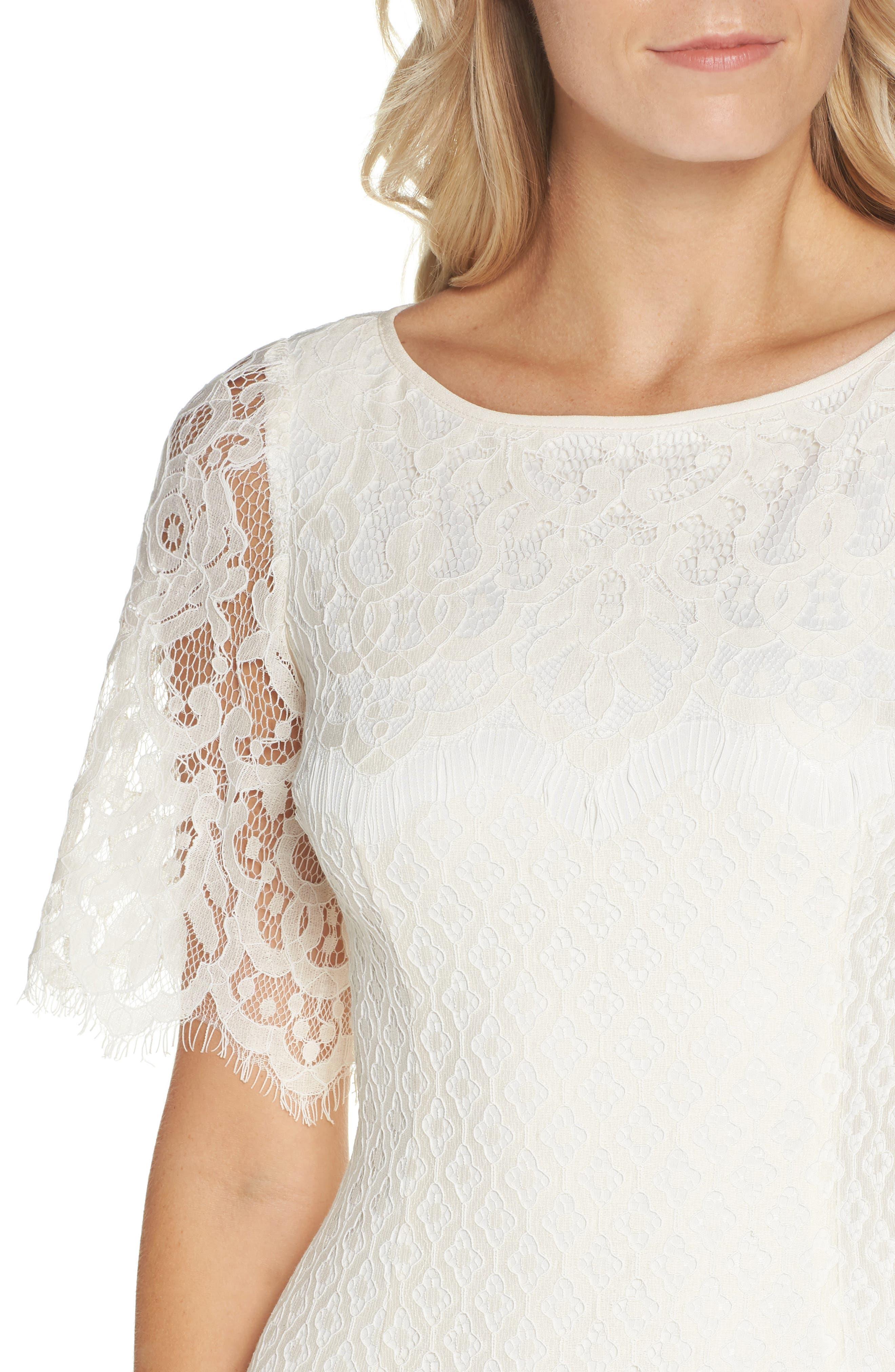 Georgia Scalloped Lace Sheath Dress,                             Alternate thumbnail 4, color,                             Ivory