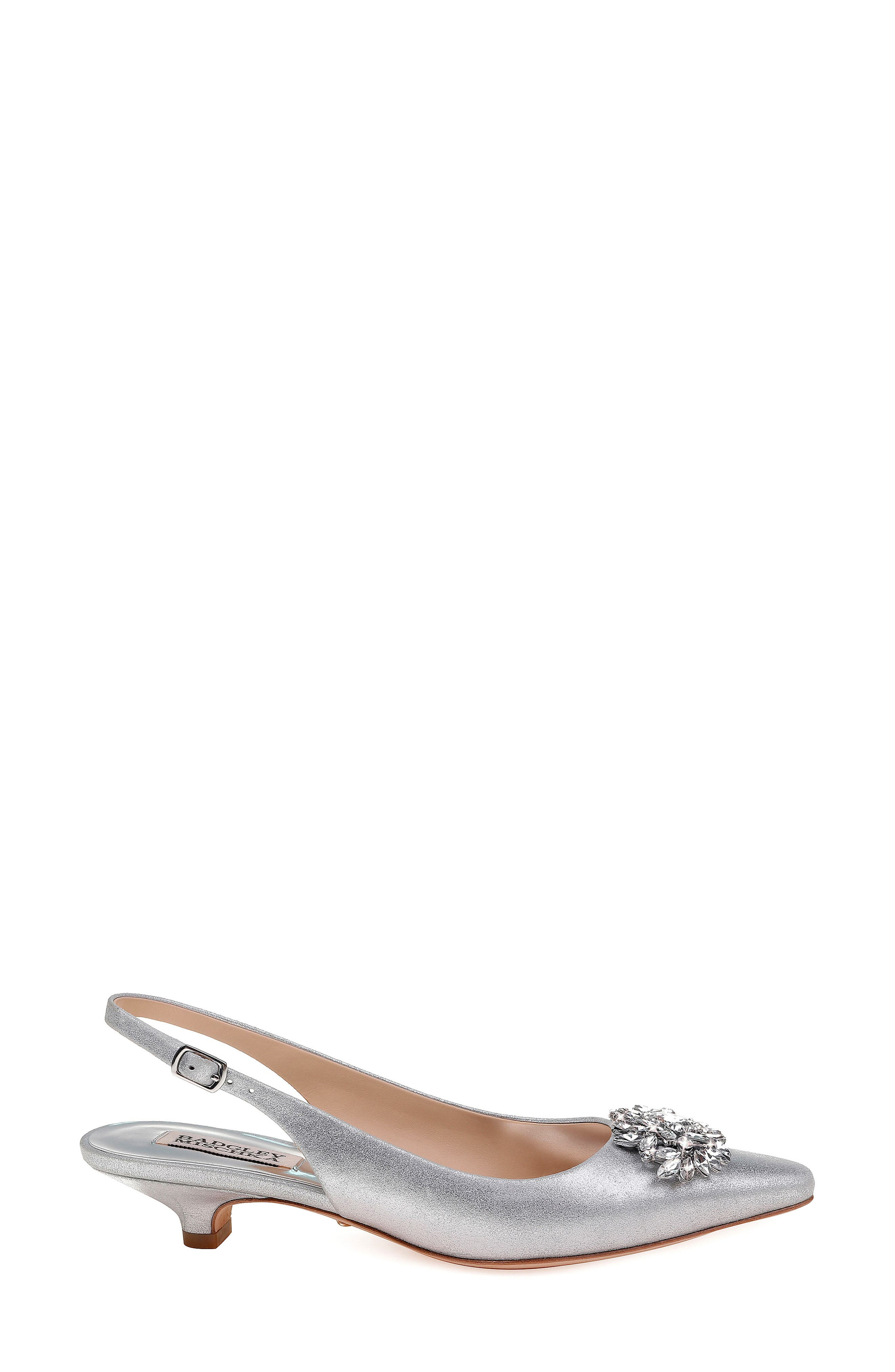 Page Slingback Pump,                             Alternate thumbnail 3, color,                             Silver Metallic Suede