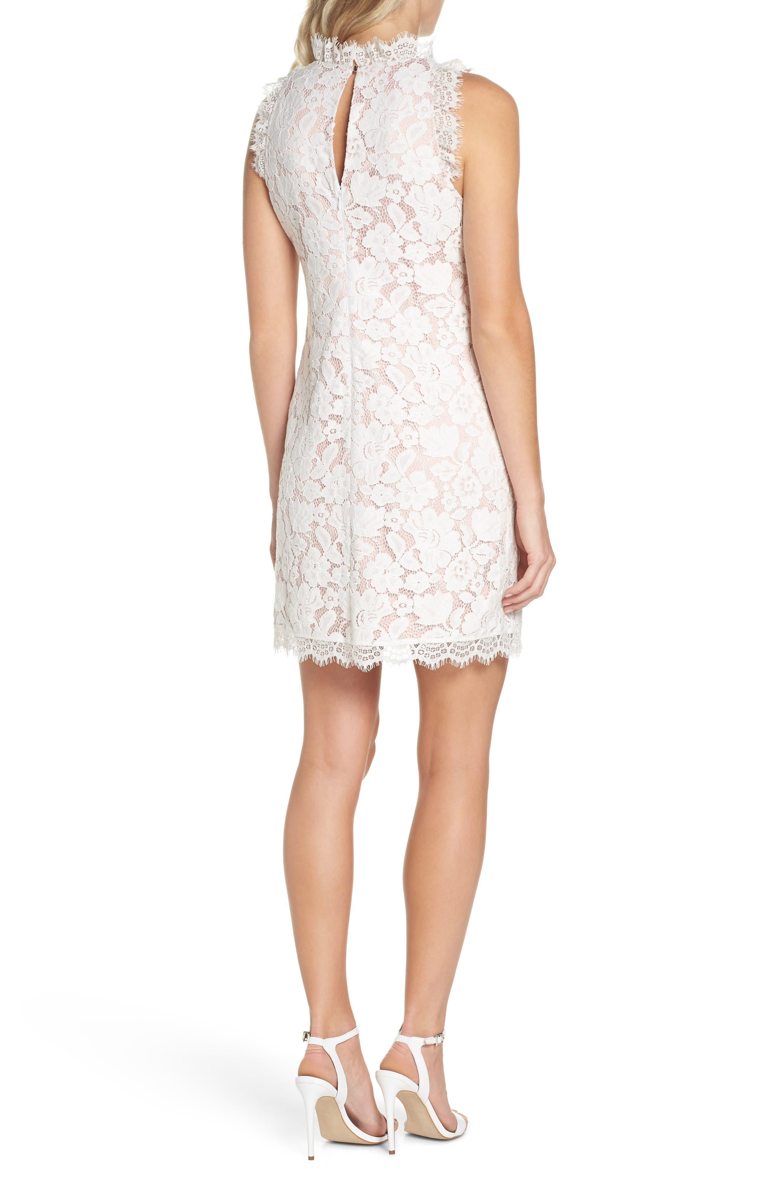 Sleeveless Eyelash Lace Sheath Dress,                             Alternate thumbnail 2, color,                             Cream