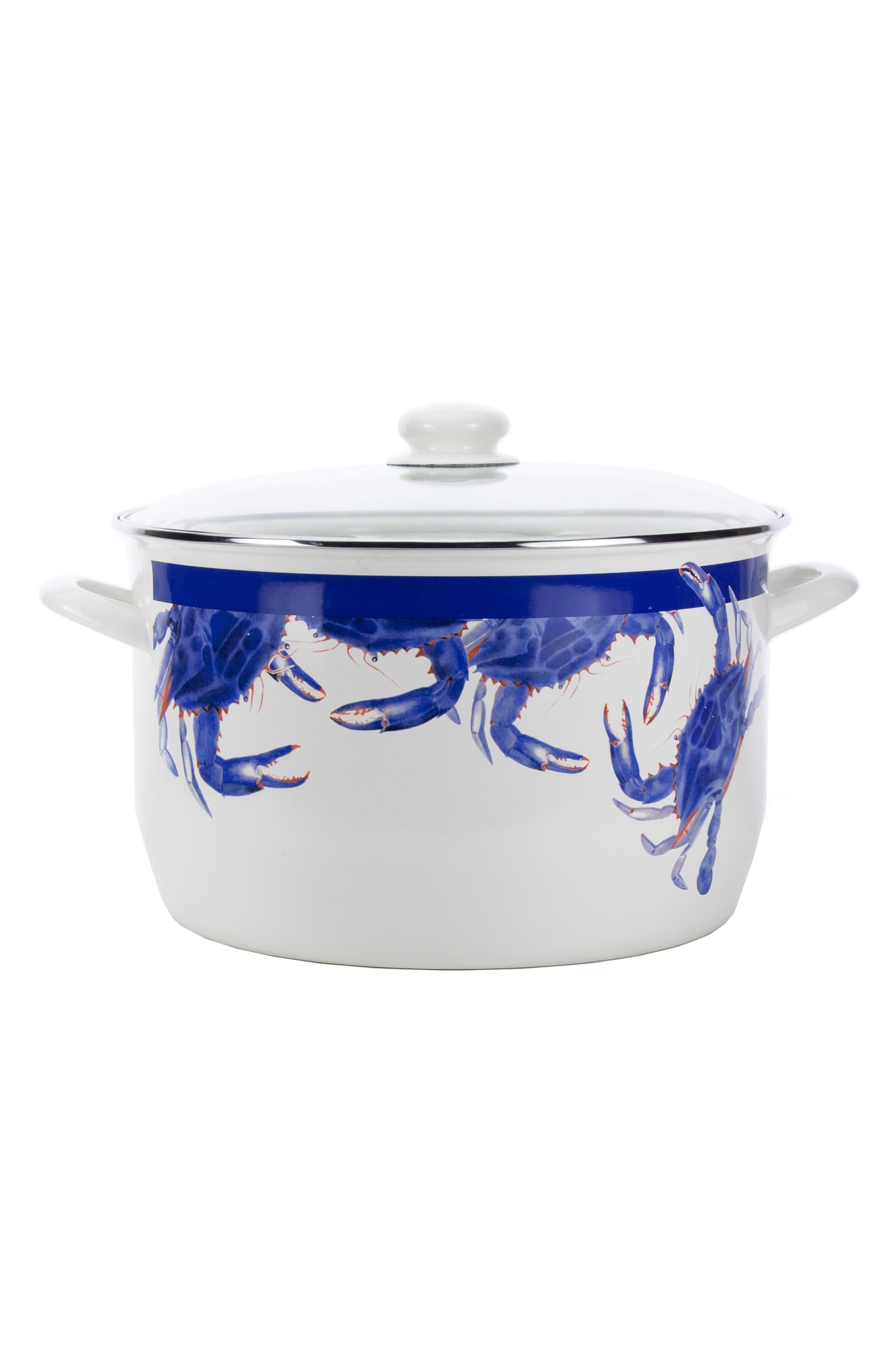 Blue Crab 18-Quart Stock Pot,                             Main thumbnail 1, color,                             Blue Crab