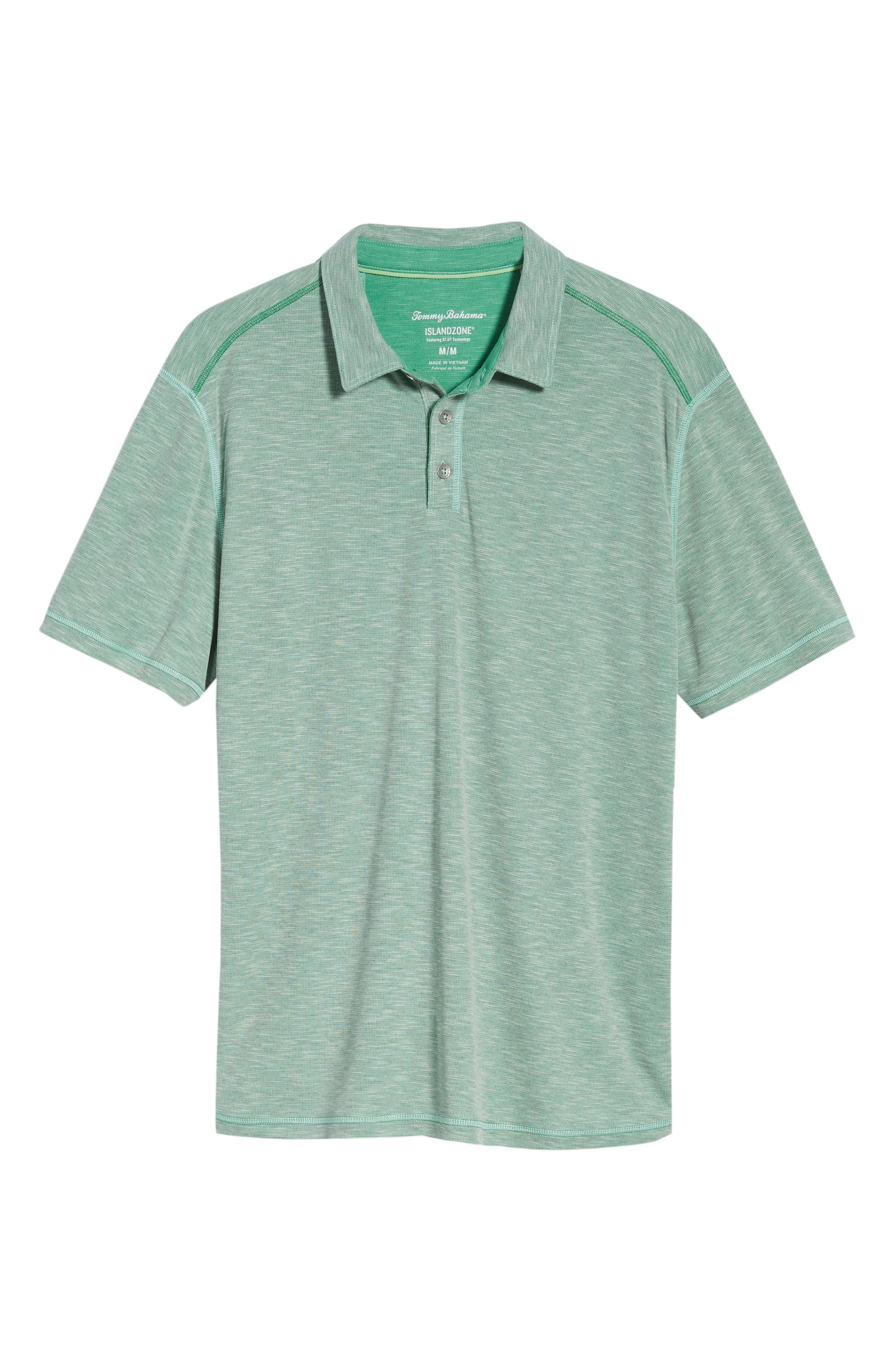 Flip Tide Tee Spectator Polo,                             Alternate thumbnail 6, color,                             Green Finch