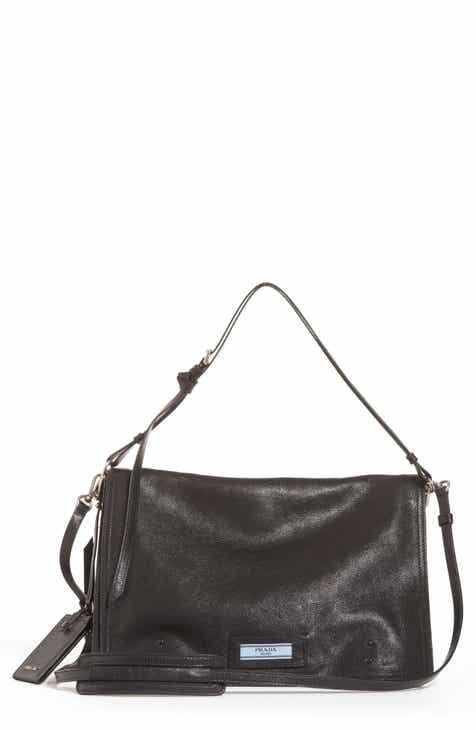8244142e1490 Prada Large Etiquette Patch Leather Bag