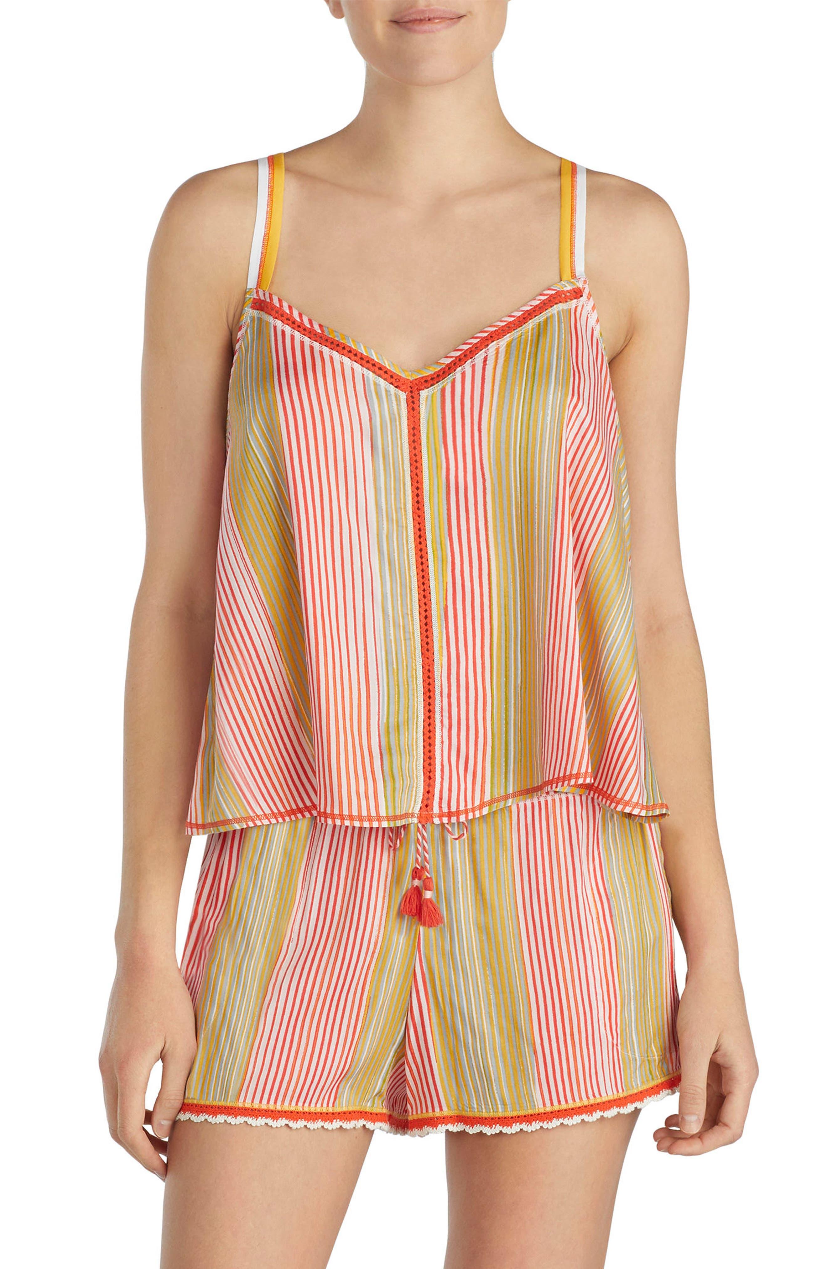 Lace Trim Short Pajamas,                             Main thumbnail 1, color,                             Multi Stripe