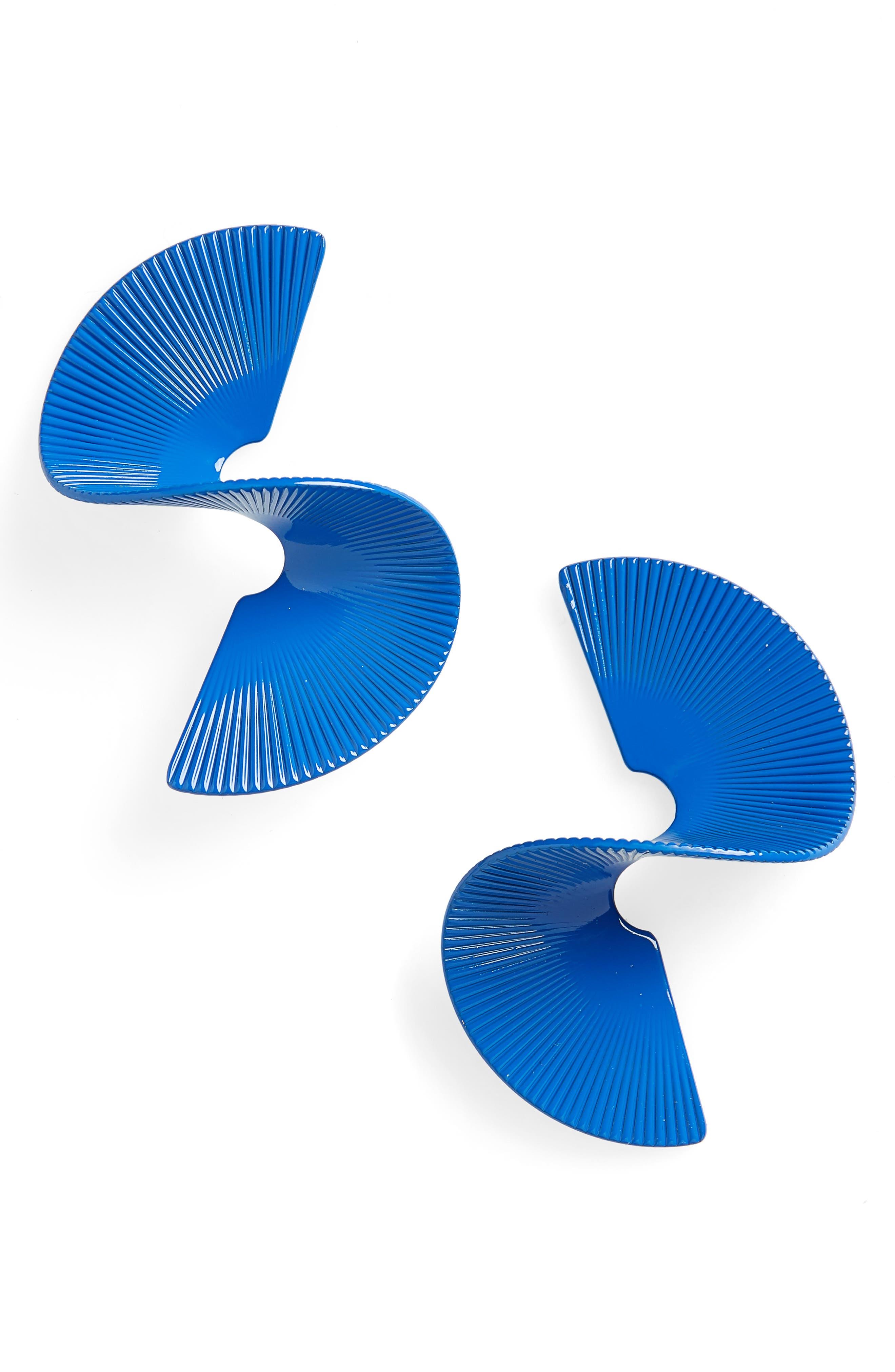 Swirl Earrings,                         Main,                         color, Blue
