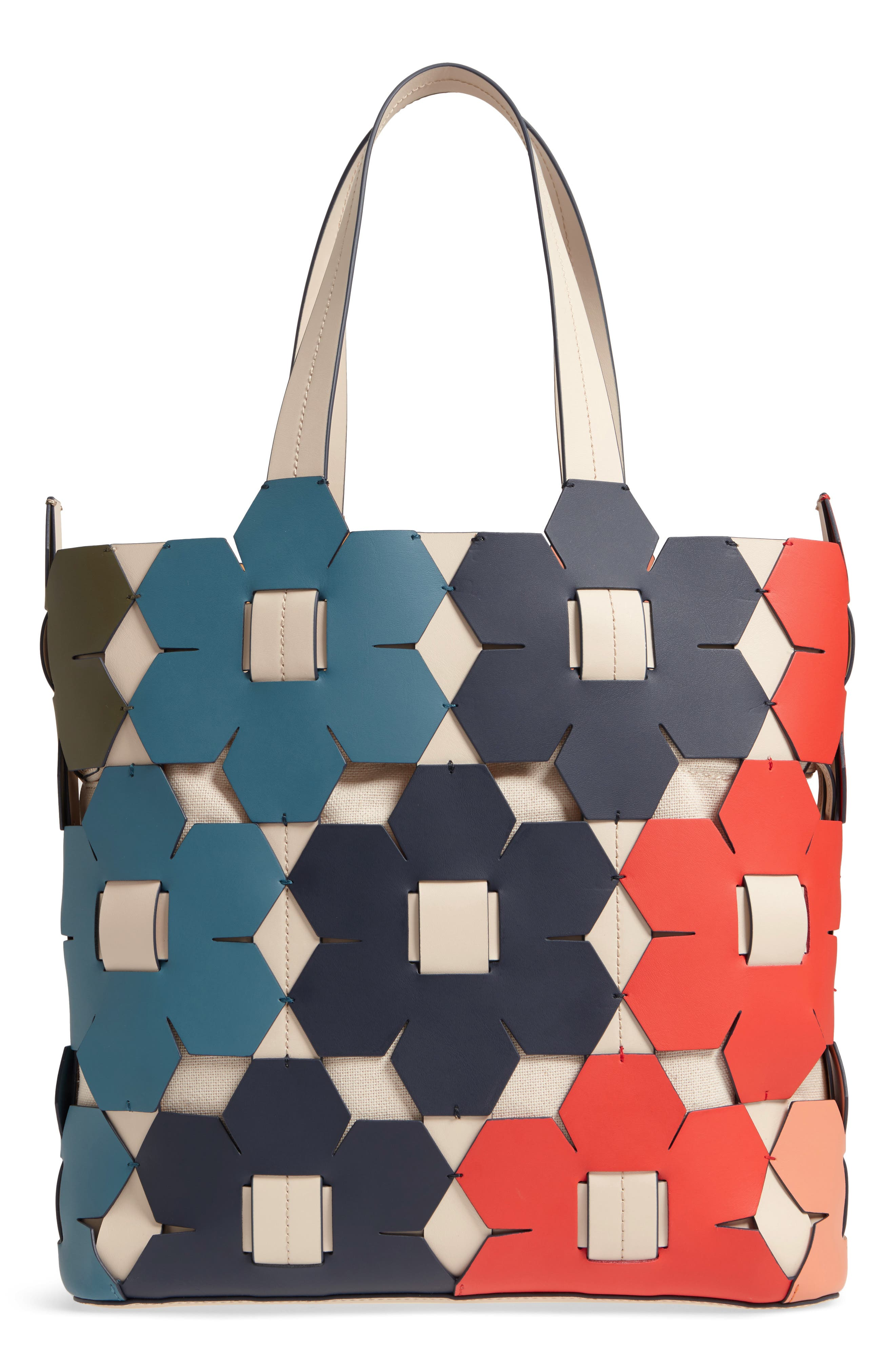 ZAC Zac Earth Hex Floral Leather Tote,                             Main thumbnail 1, color,                             Rainbow