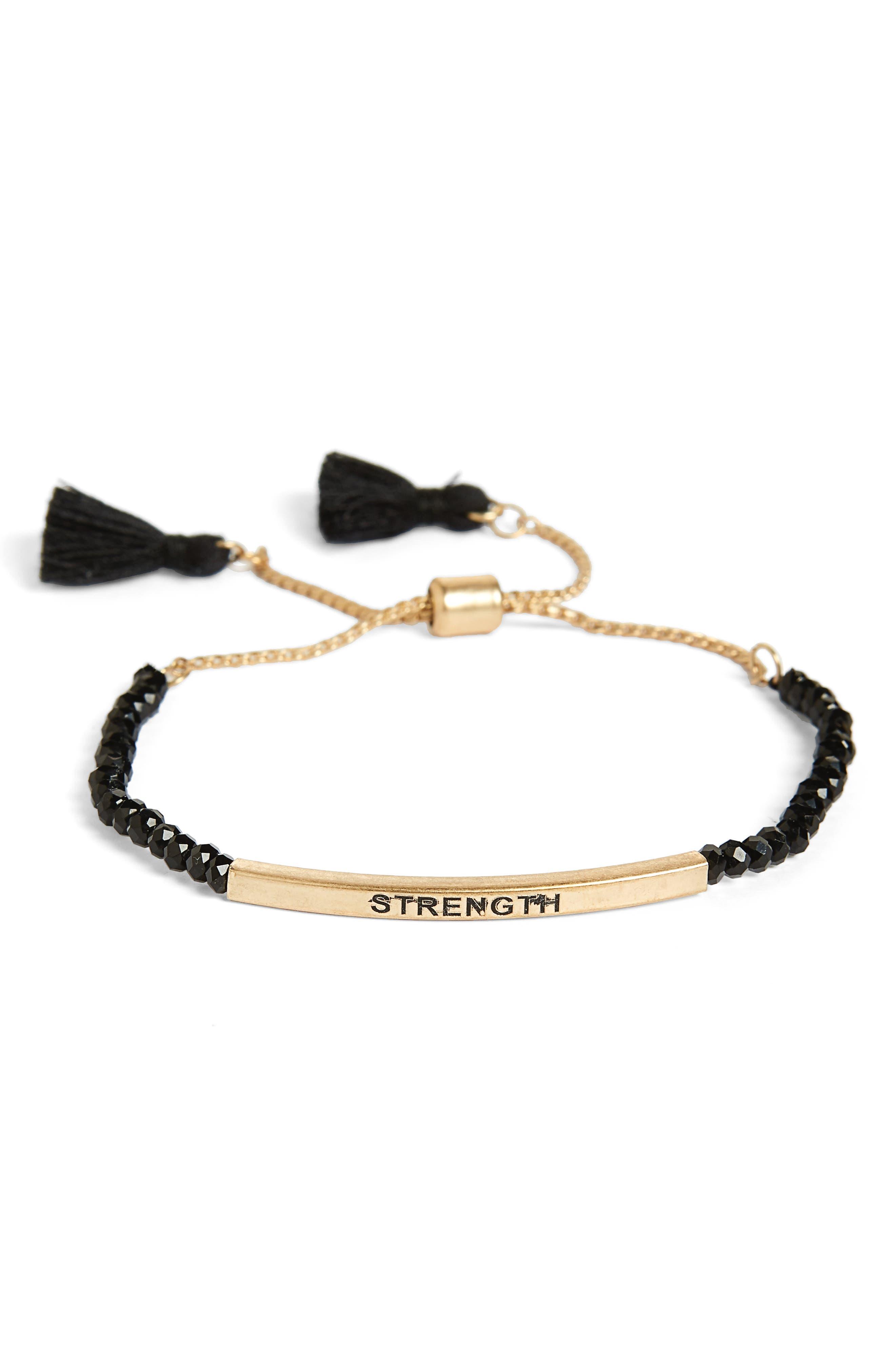 Bead & Metal Bar Bolo Bracelet,                         Main,                         color, Black