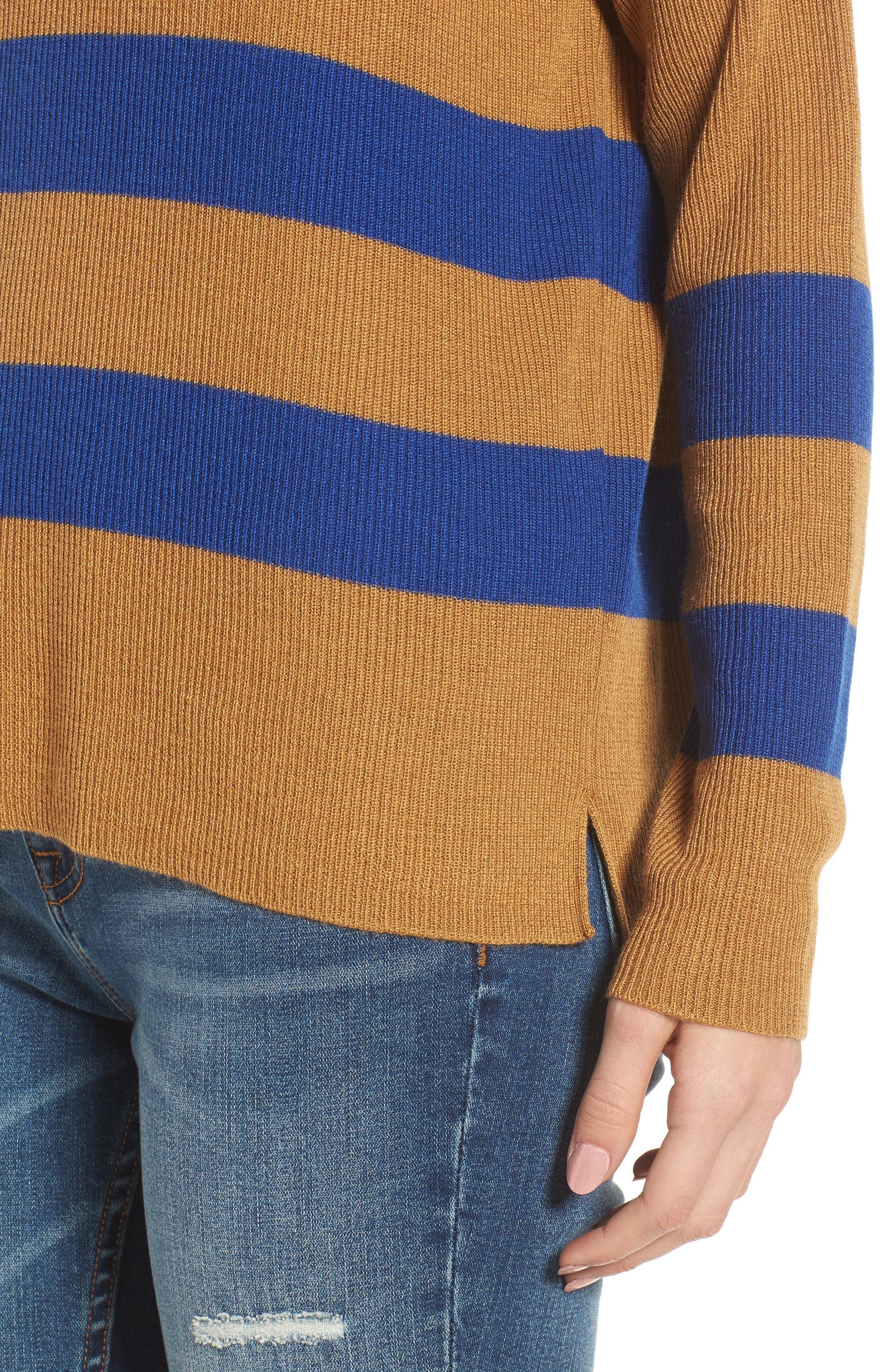 Varsity Stripe Sweater,                             Alternate thumbnail 4, color,                             Brown Cattail Kenzie Stripe